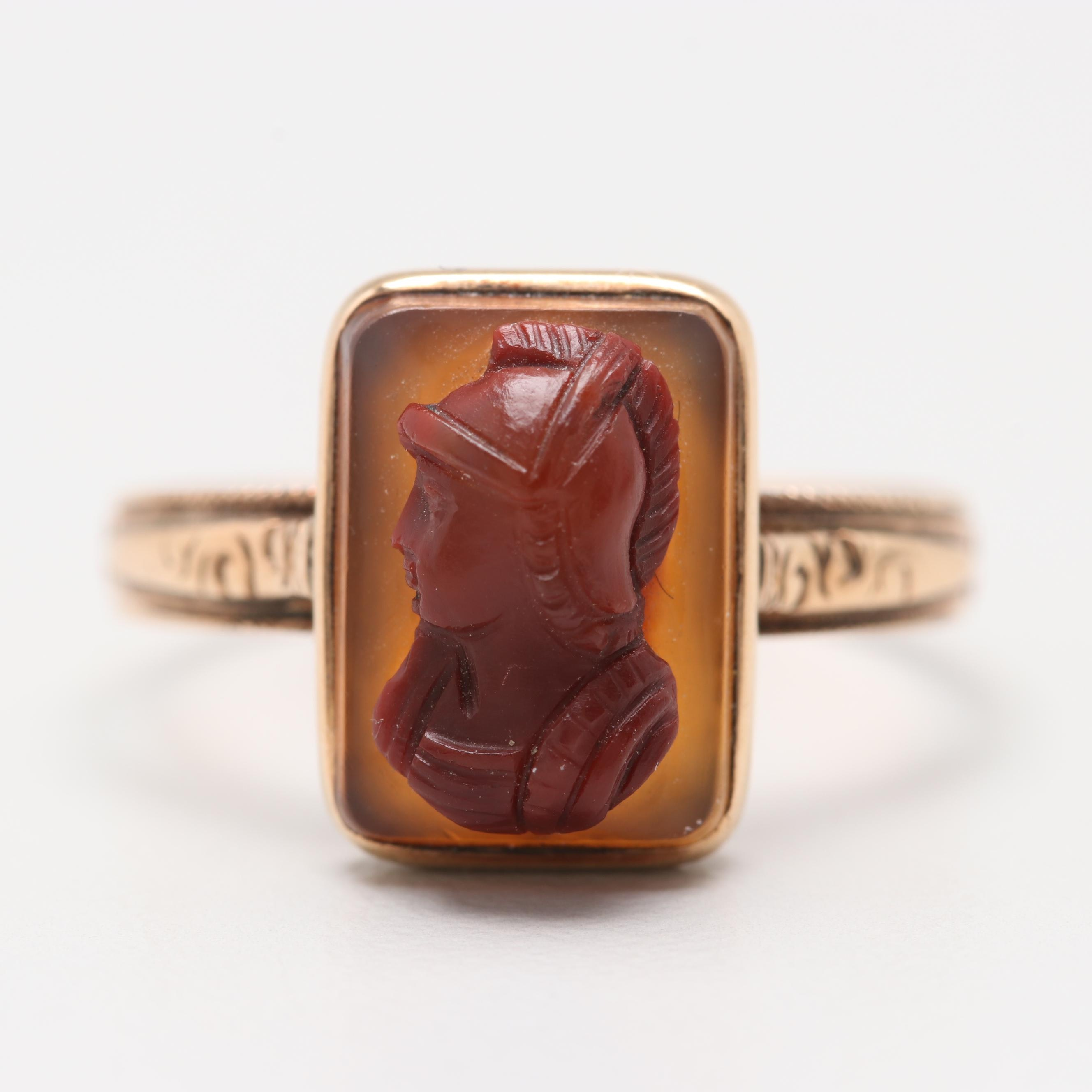 Mid-Victorian, Etruscan Revival 14K Yellow Gold Agate Cameo Ring