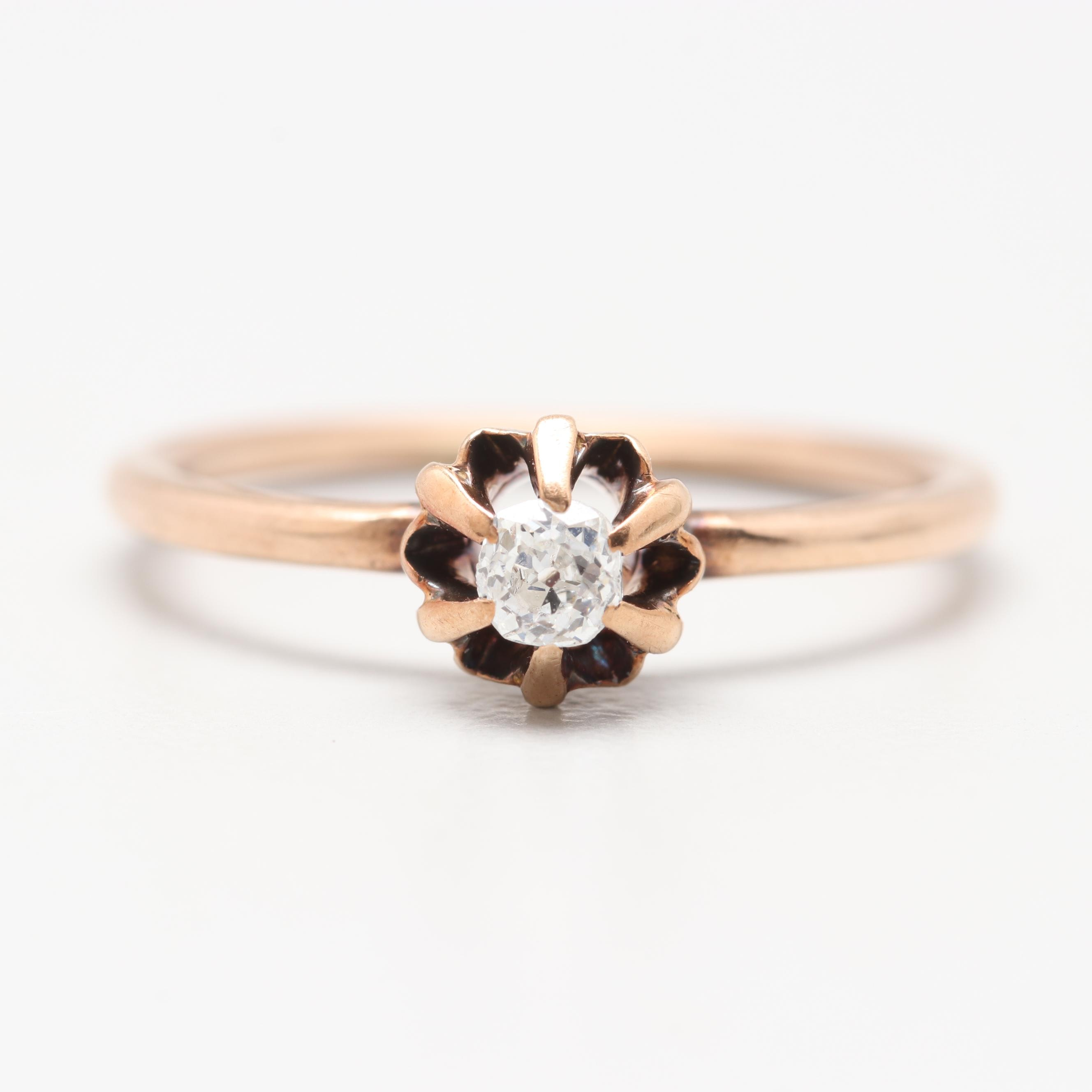 Victorian 10K Yellow Gold Diamond Solitaire Ring