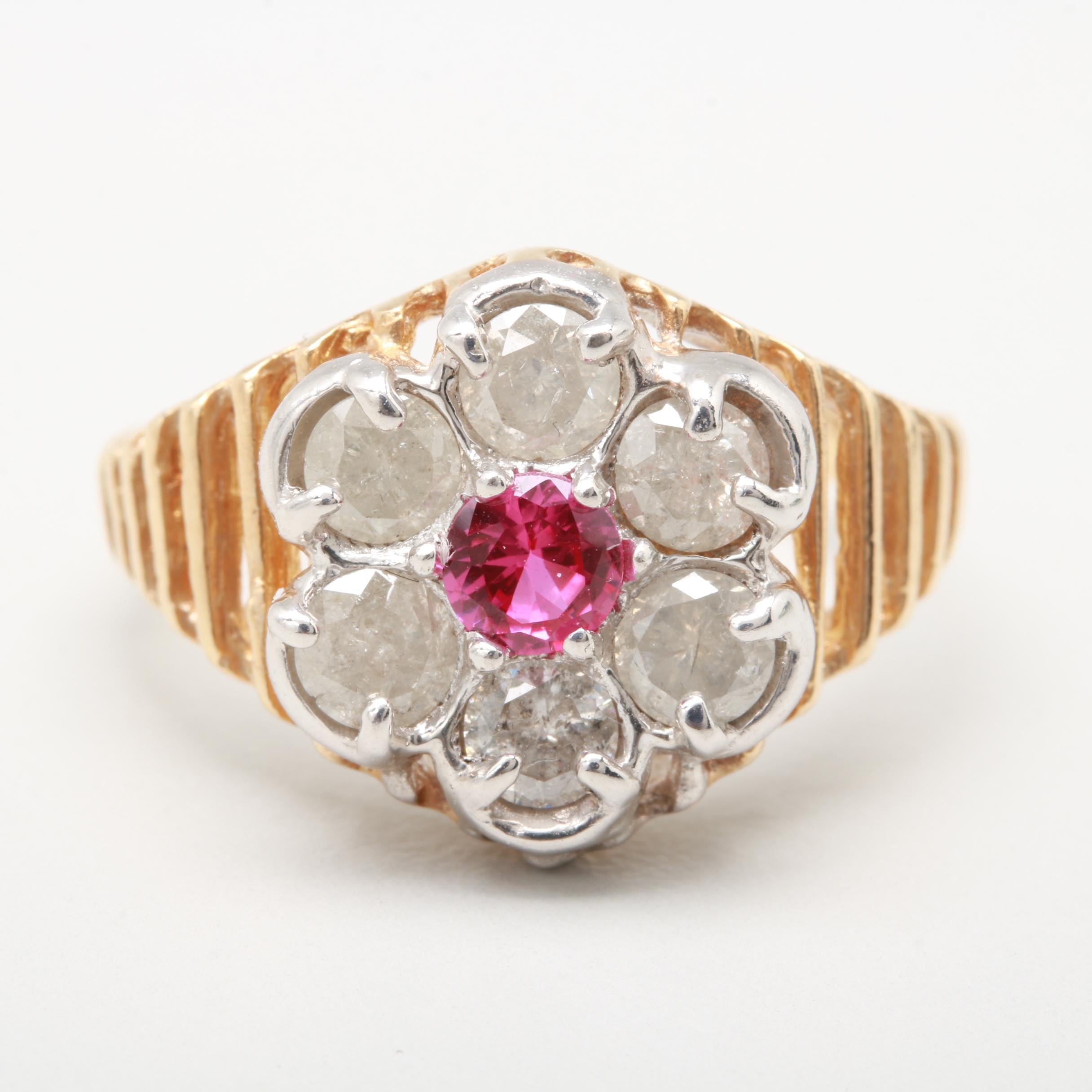 10K Yellow Gold Synthetic Ruby and 1.08 CTW Diamond Floral Ring
