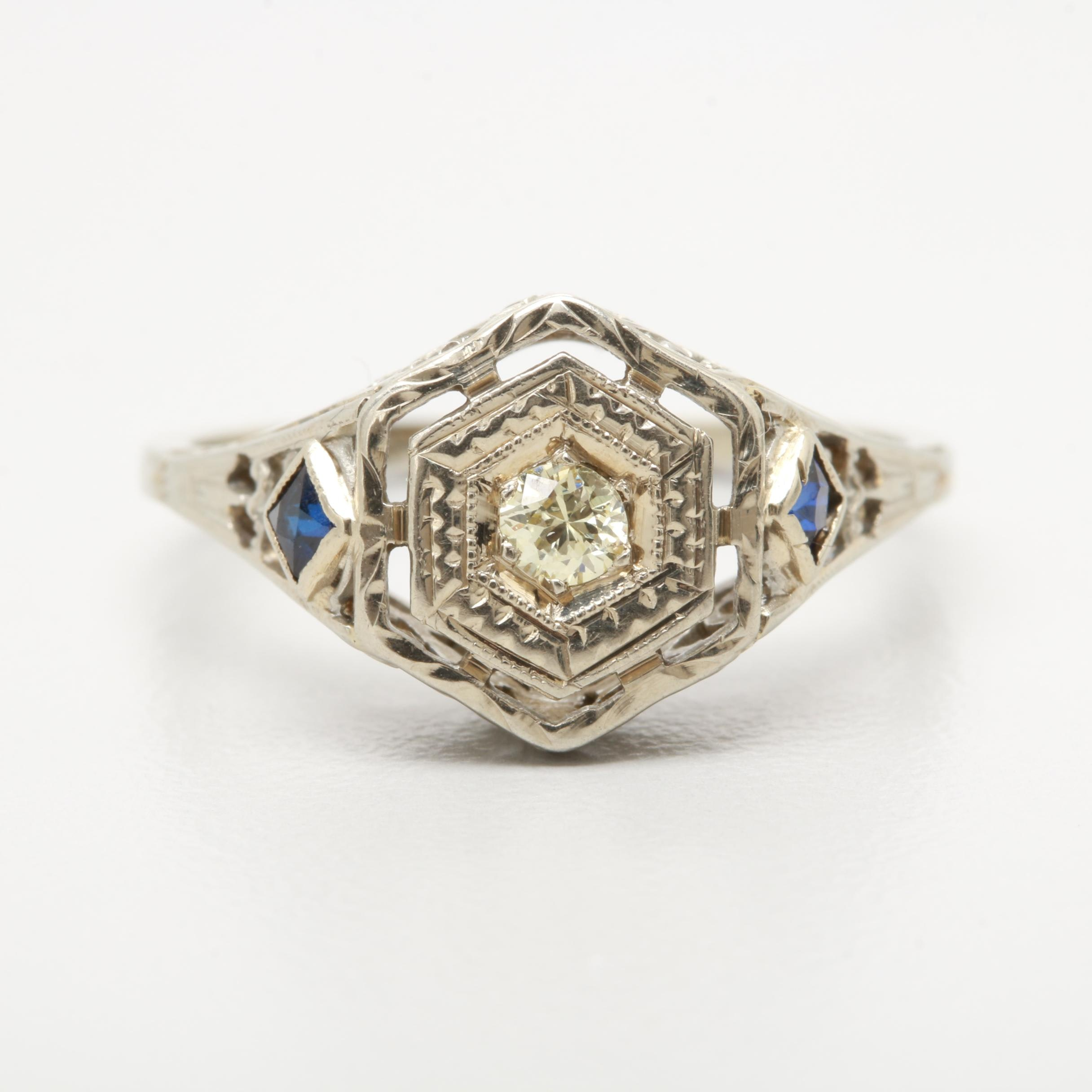 Belais Art Deco 18K White Gold Diamond and Synthetic Sapphire Filigree Ring