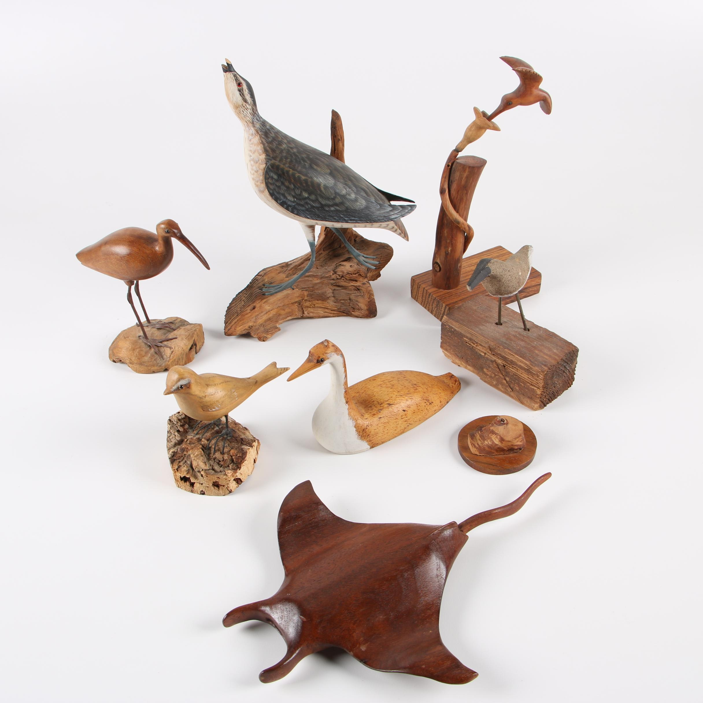 Bly Signed Carved Wooden Bird and Stingray Figurines