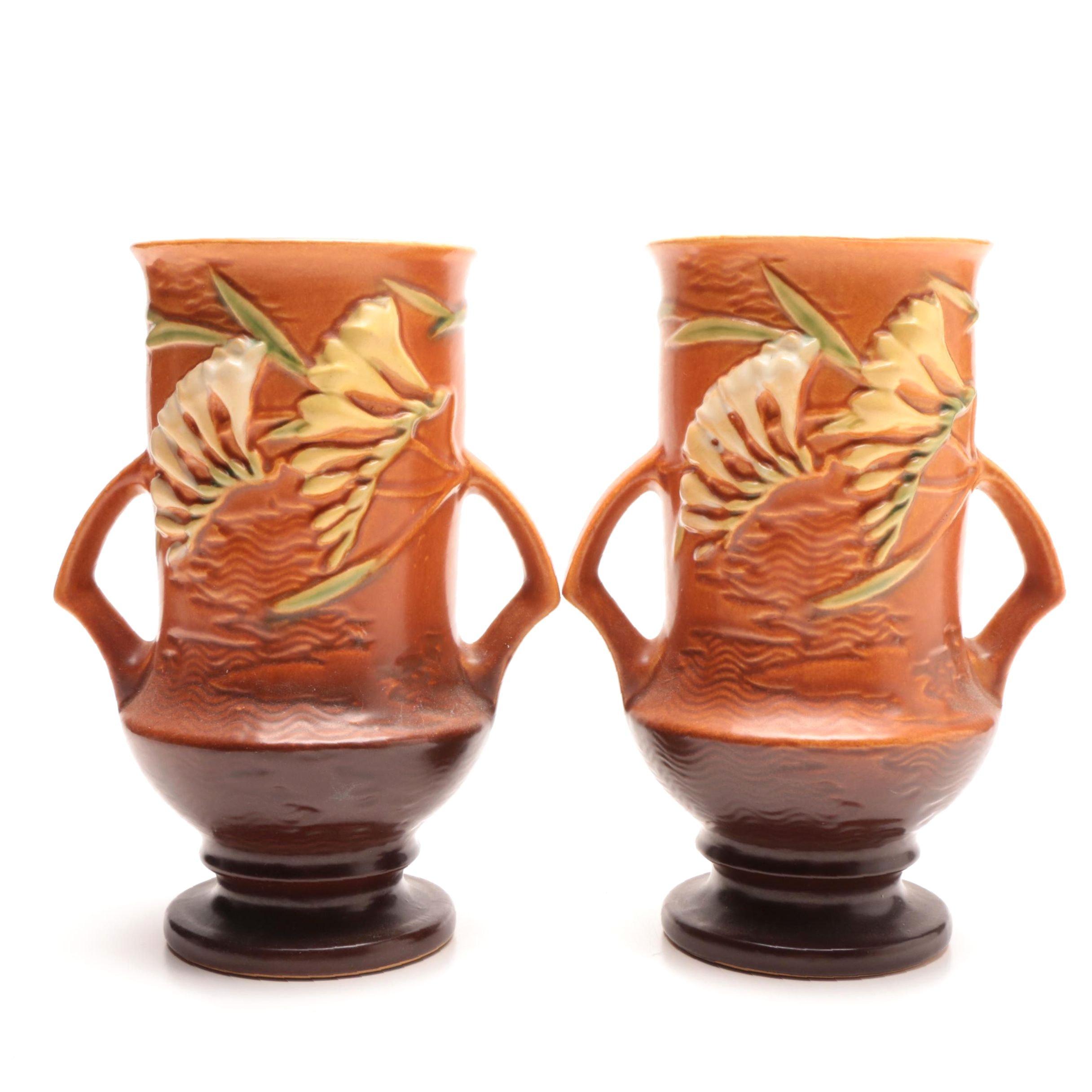 """Roseville Pottery """"Freesia"""" Vases"""