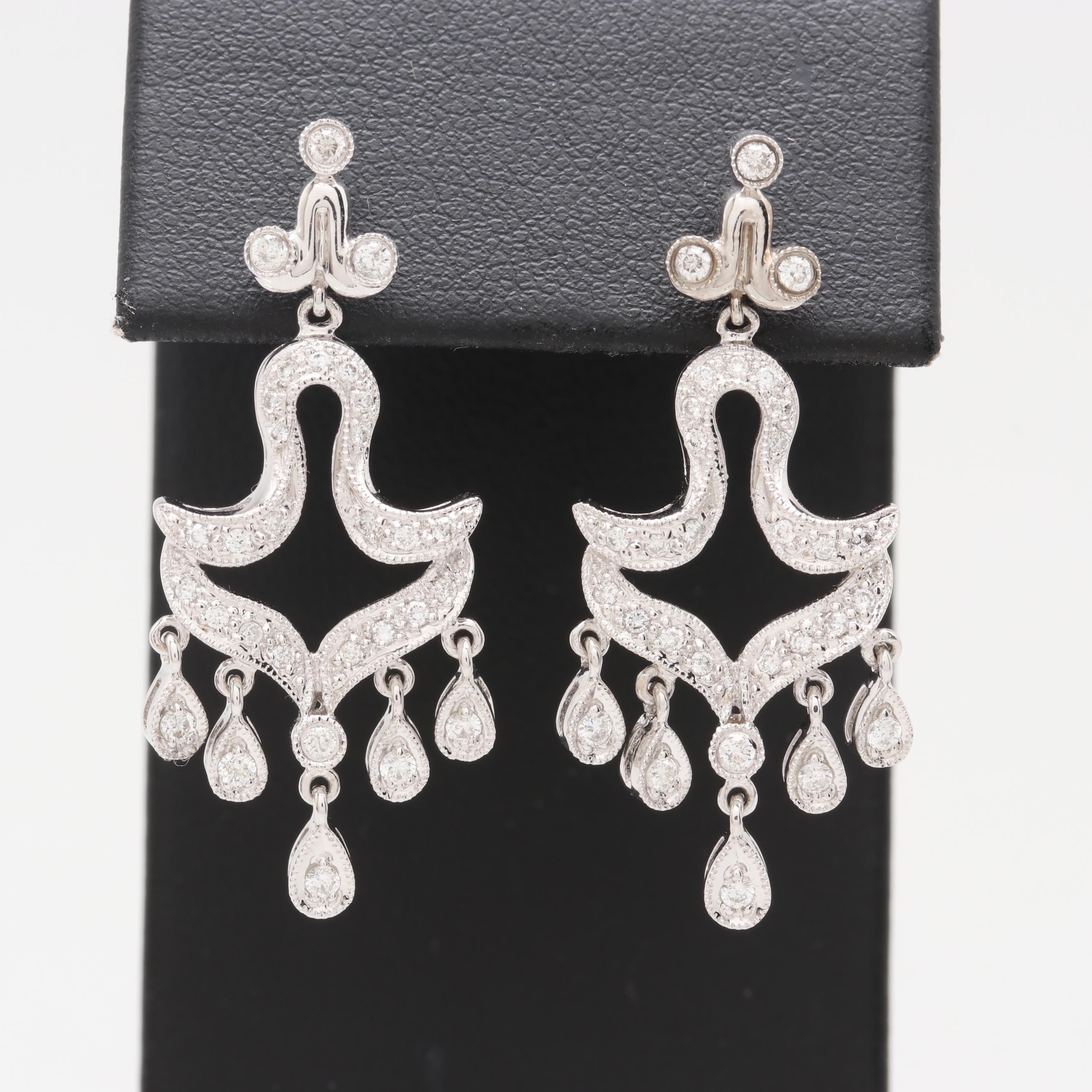 14K White Gold Diamond Chandelier Dangle Earrings