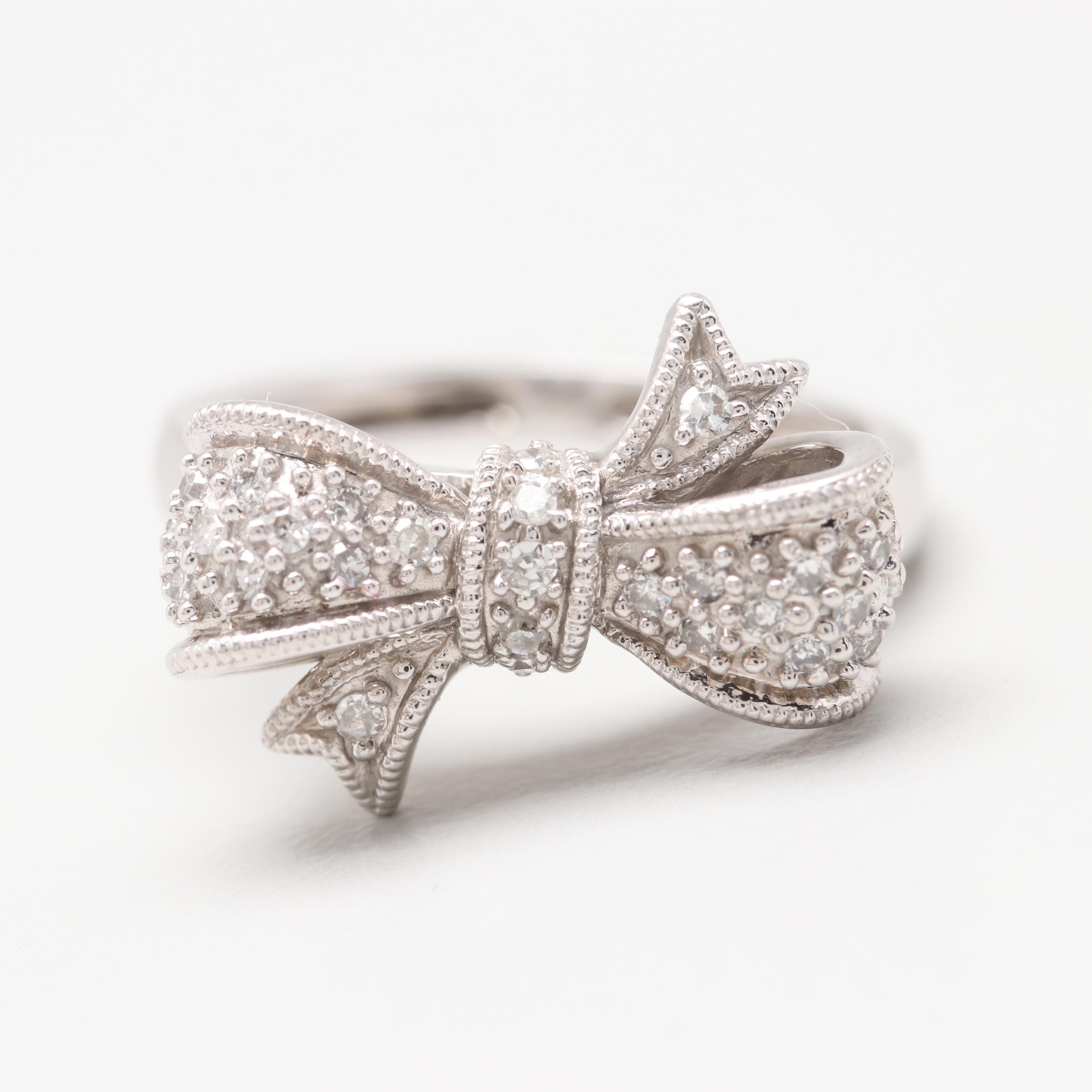 10K White Gold Diamond Bow Ring