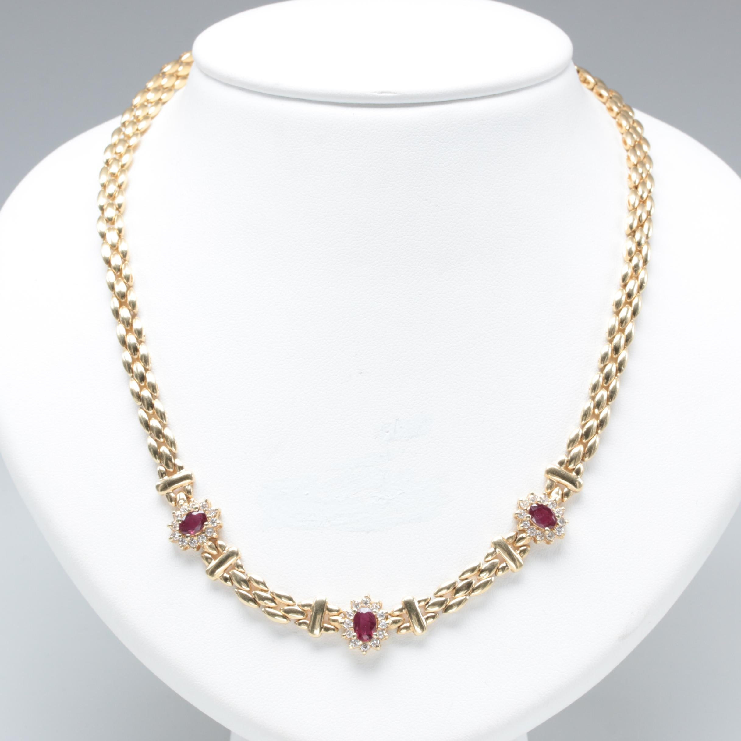 14K Yellow Gold Composite Ruby and Diamond Necklace