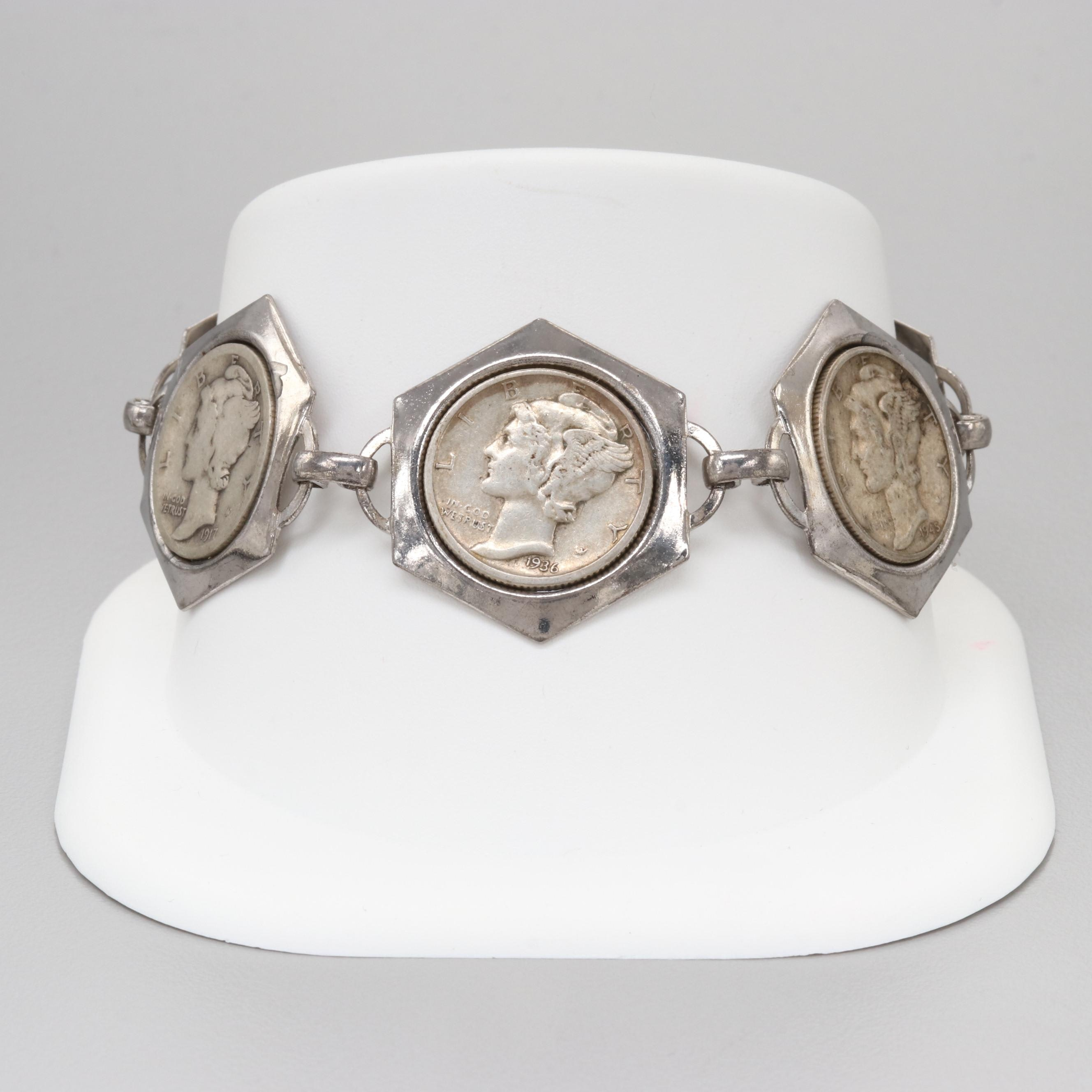 Silver Tone Coin Bracelet with 900 Silver Coins