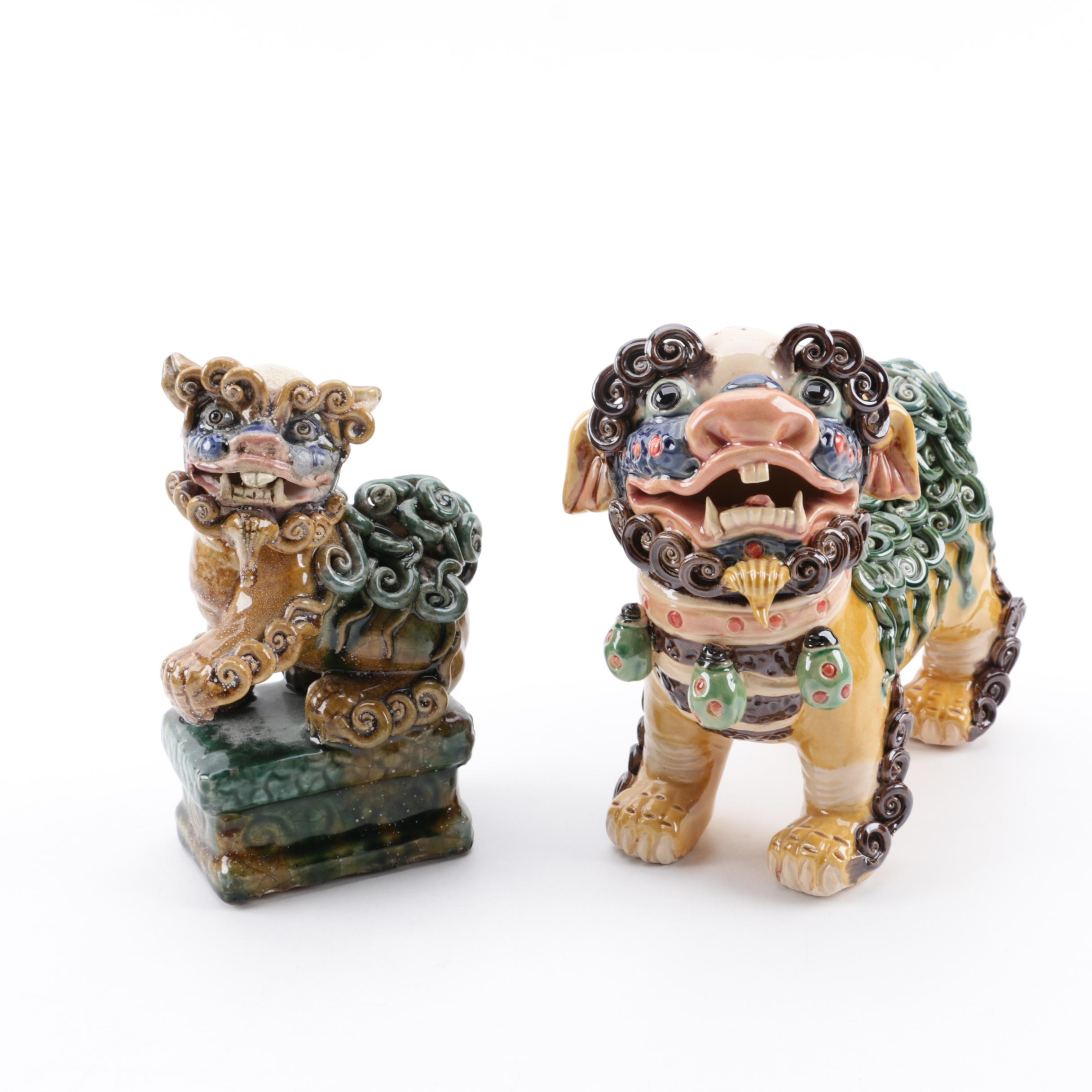 Chinese Ceramic Guardian Lion Figurines