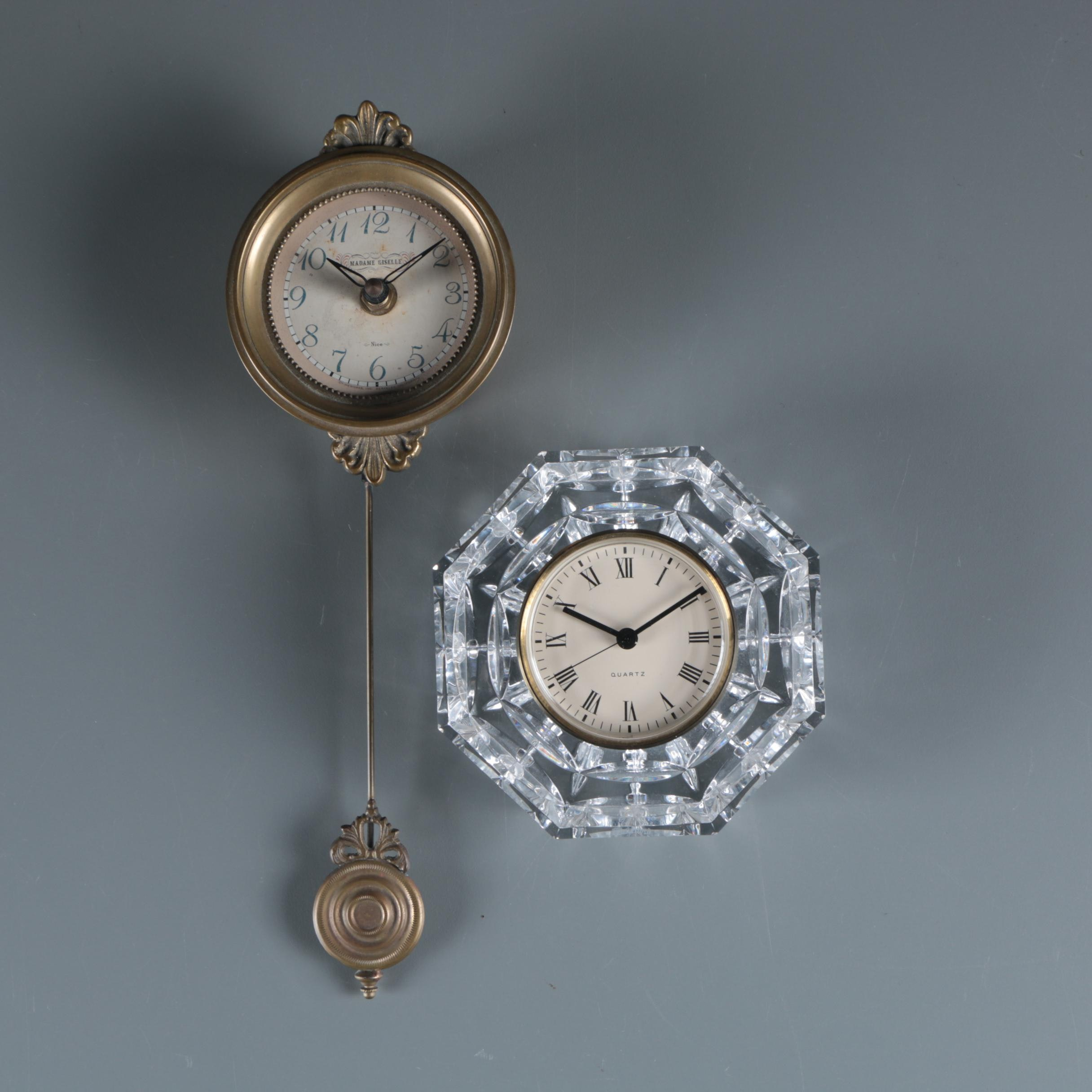Waterford Crystal Desk Clock with Timeworks Petite Pendulum Wall Clock
