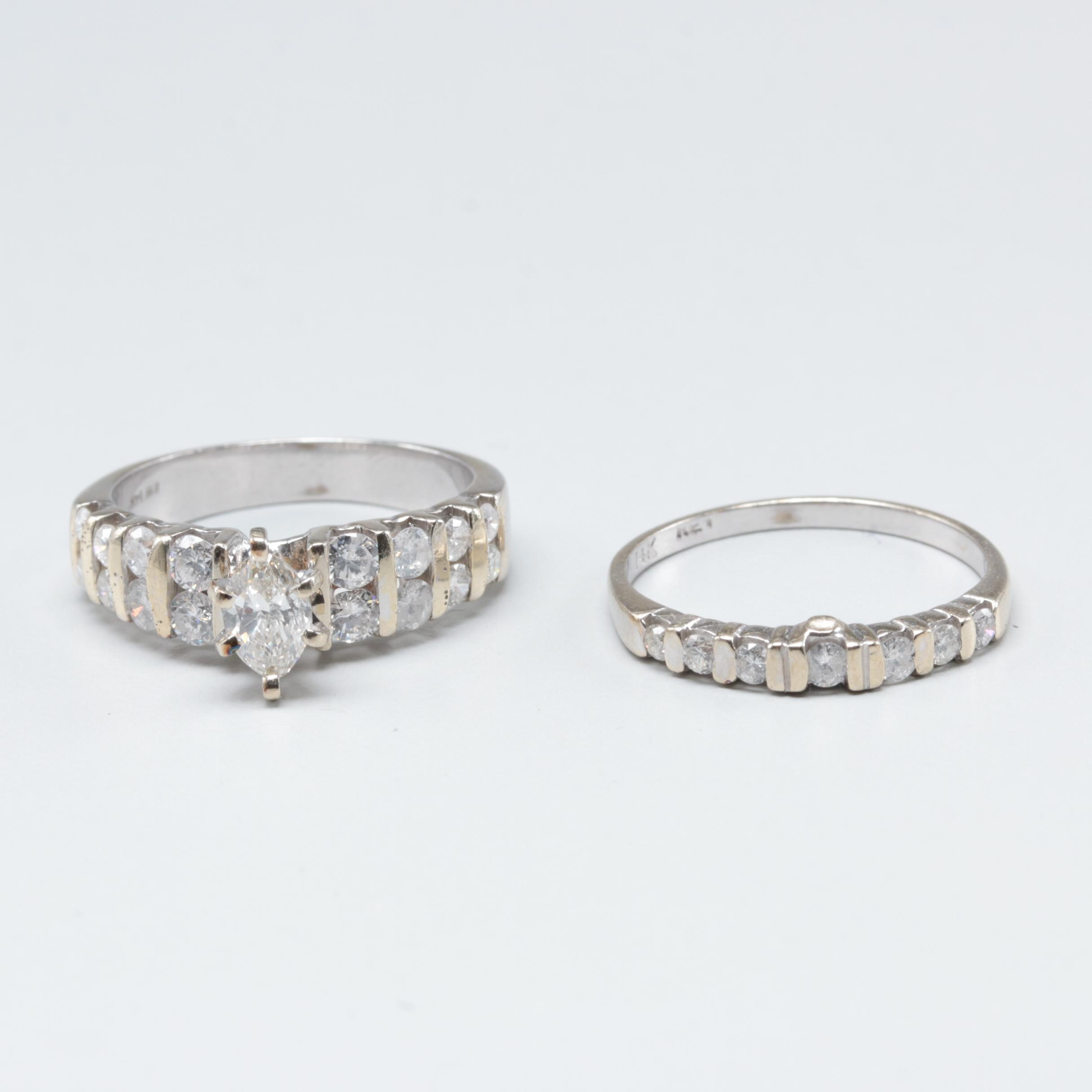 14K White Gold 1.48 CTW Diamond Ring Set