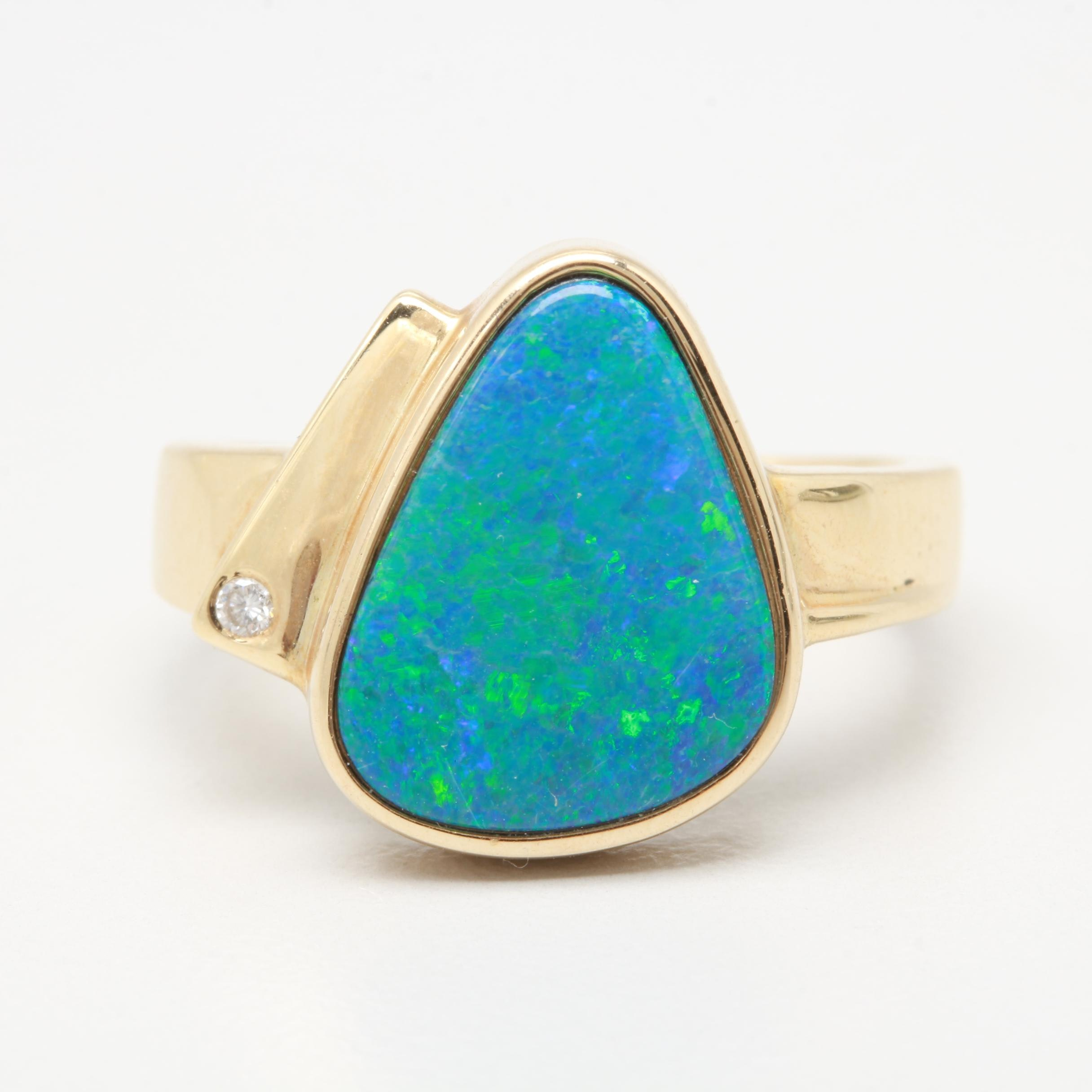 14K Yellow Gold Boulder Opal and Diamond Ring