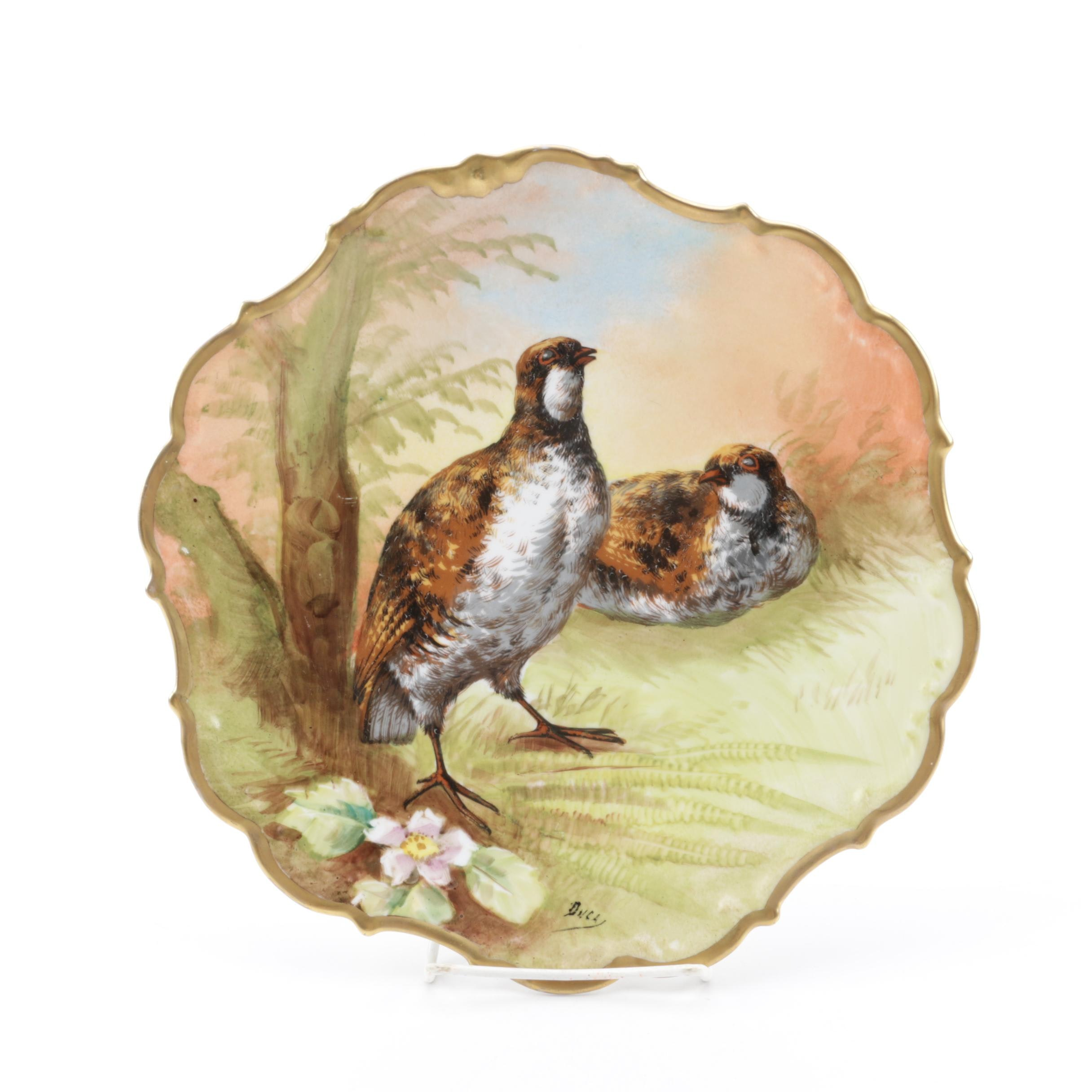 Vintage Limoges Hand-Painted Porcelain Plate with Quails