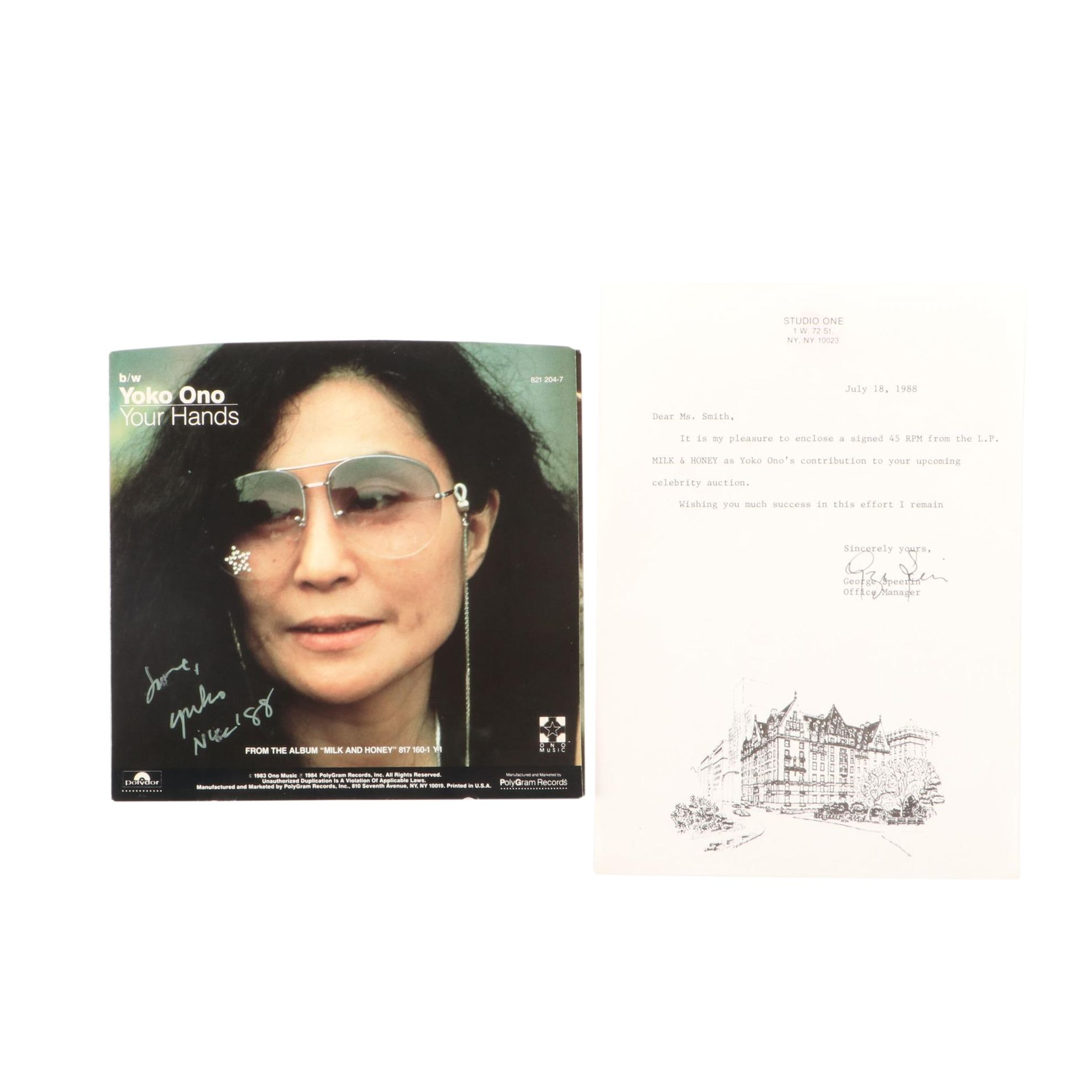 1988 Yoko Ono Signed 45 RPM Record Cover With Letter COA