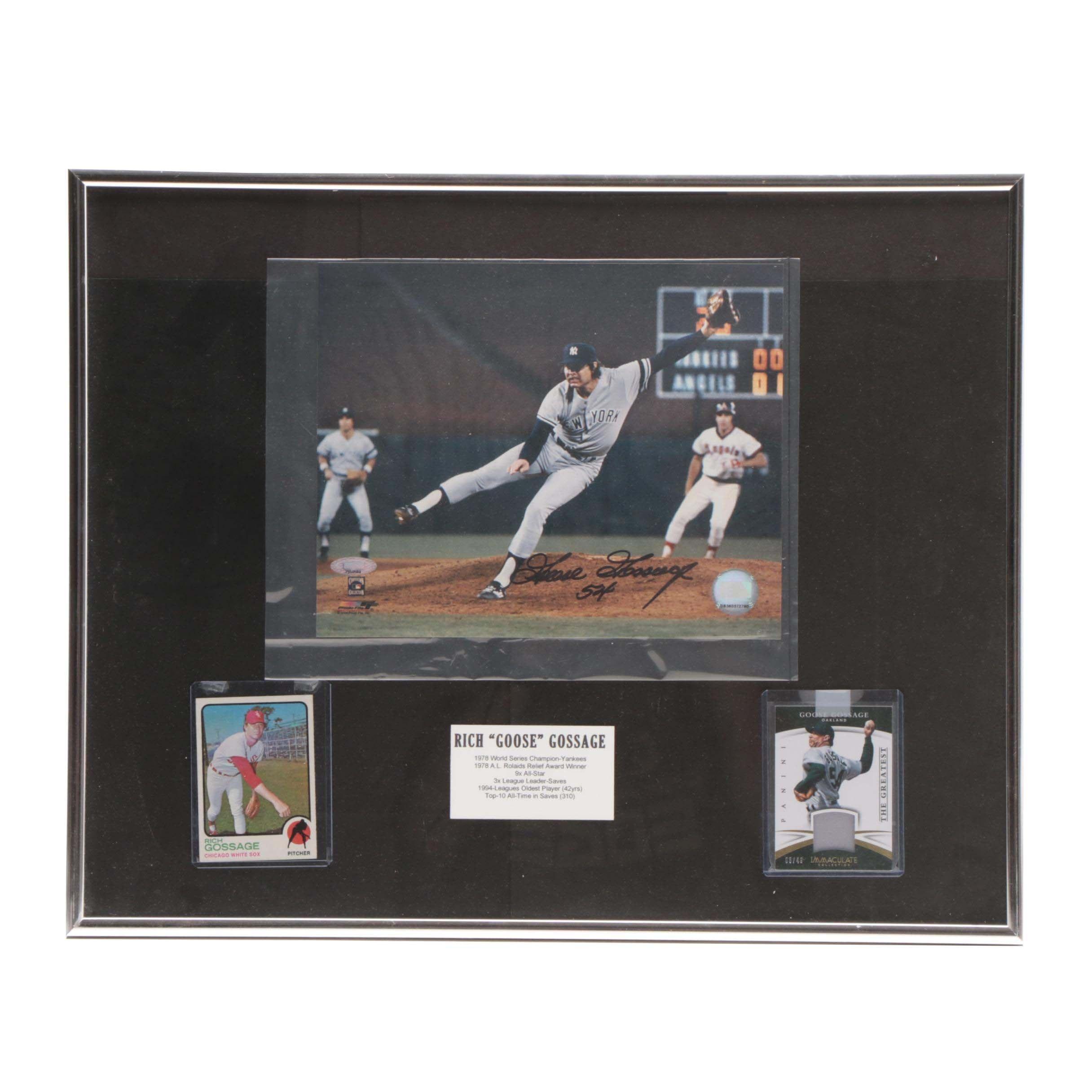 "HOF Rich ""Goose"" Gossage Signed Framed Baseball Display COA"