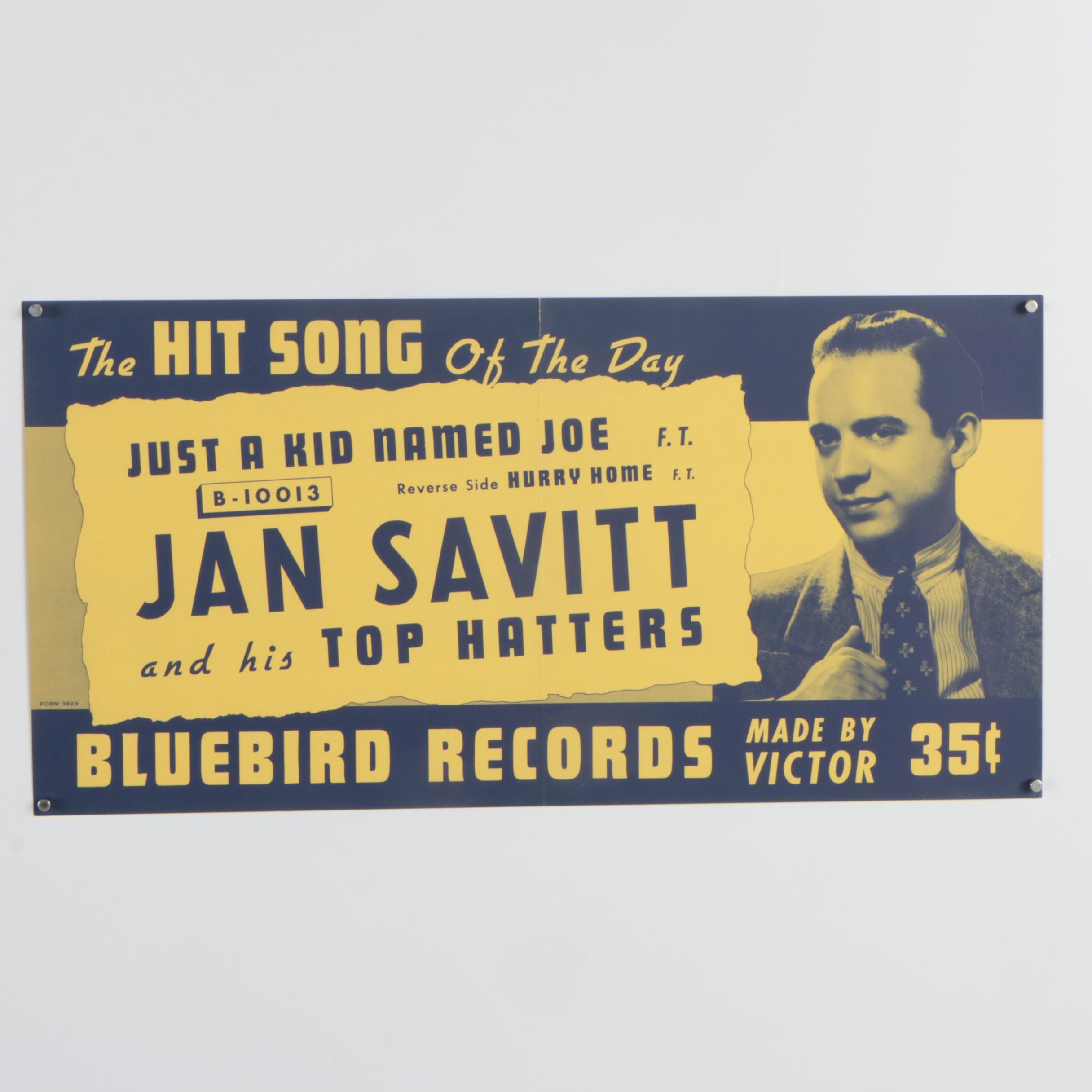 "Bluebird Records Lithograph Poster ""Jan Savitt and His Top Hatters"""