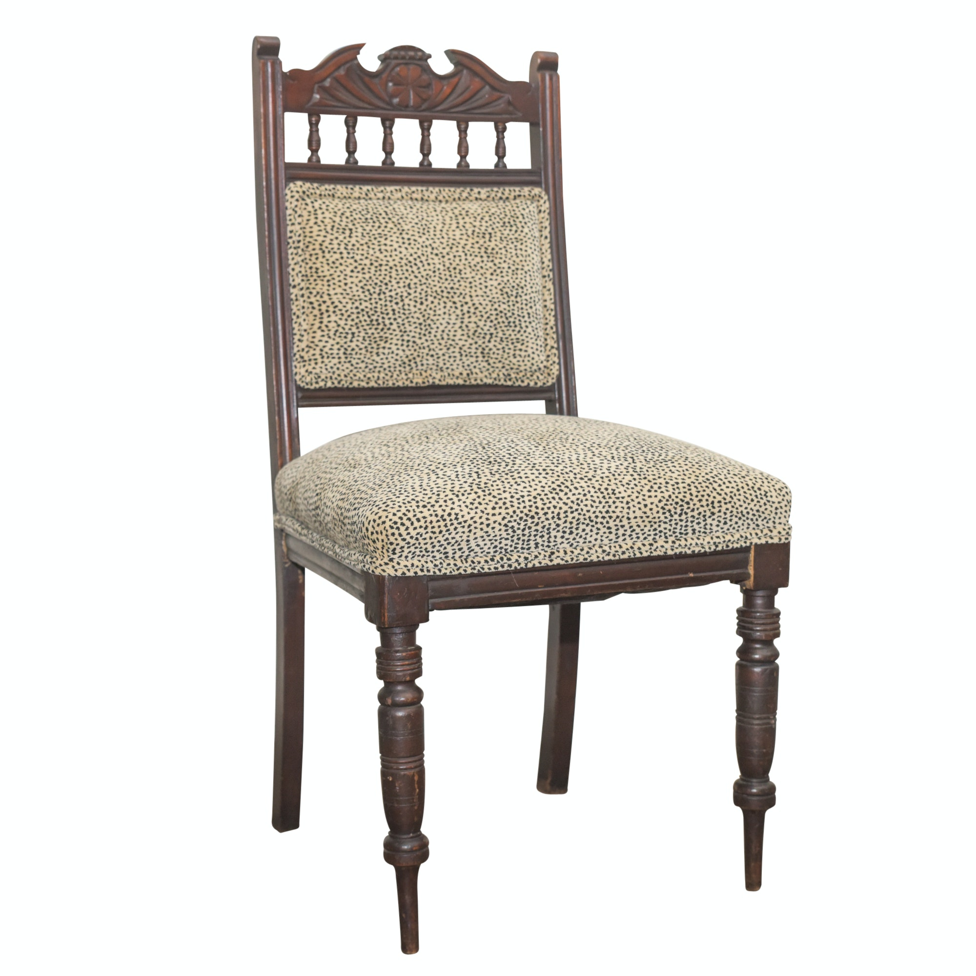 Eastlake Style Side Chair with Leopard Upholstery