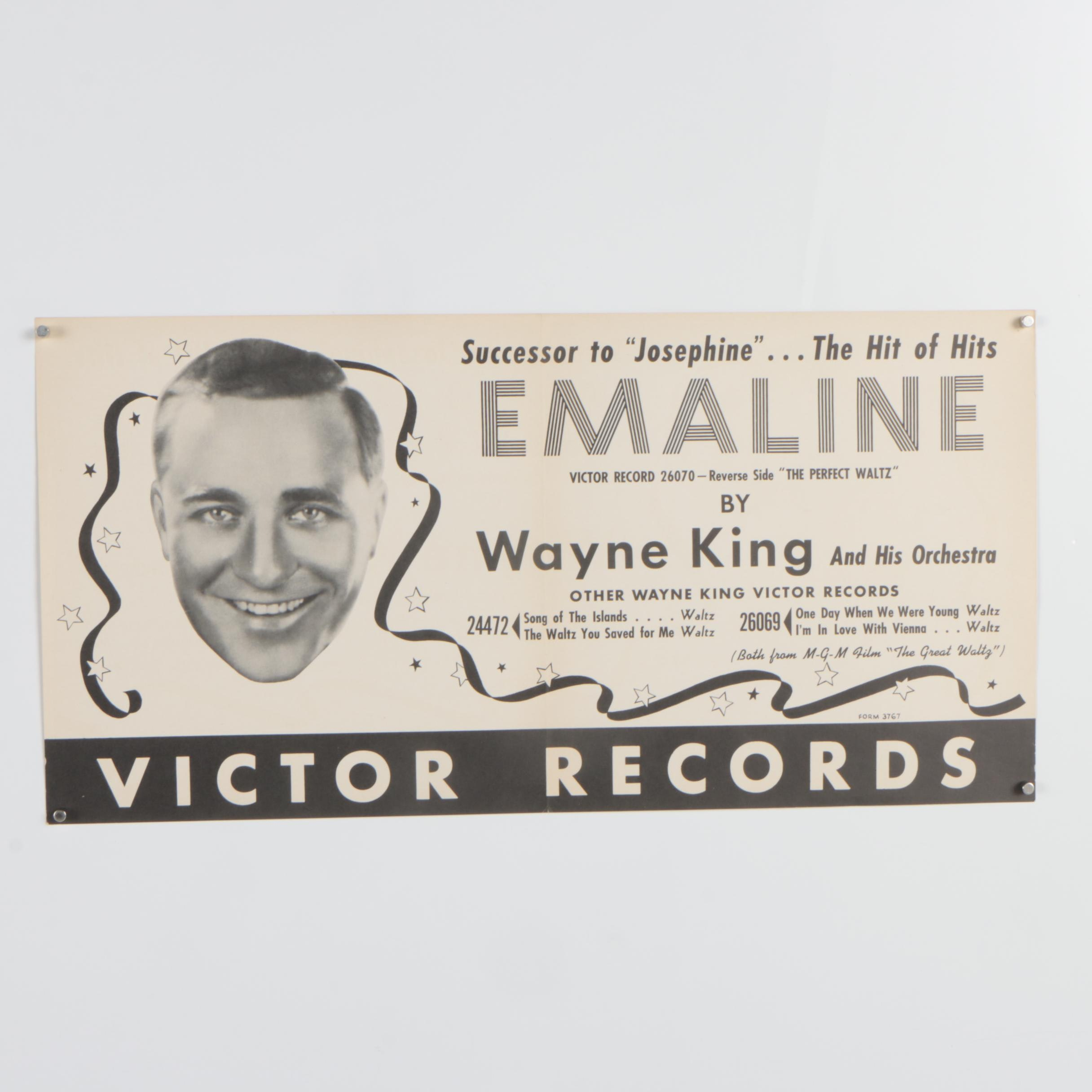 "Victor Records Lithograph Poster ""Emaline"""