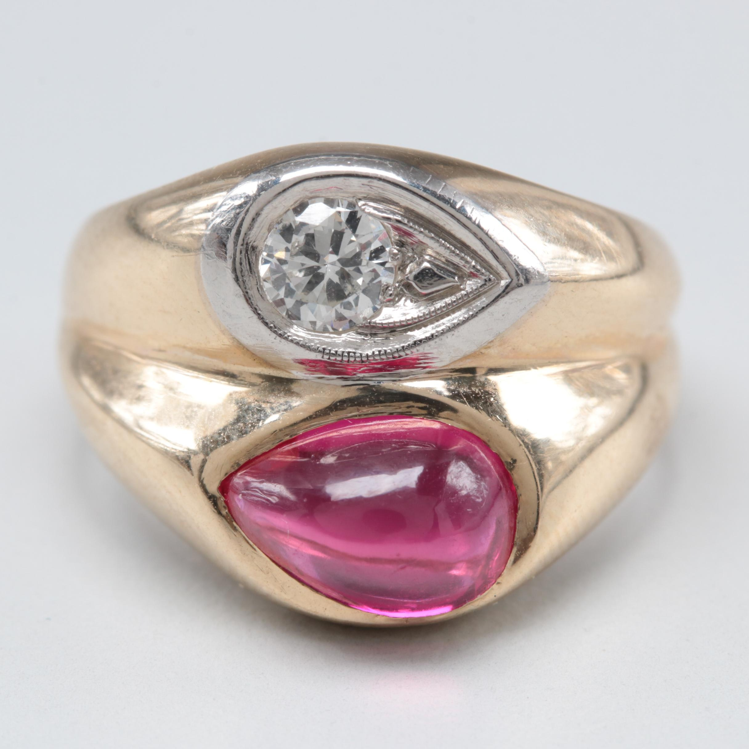 10K Yellow Gold Diamond and Synthetic Ruby Ring