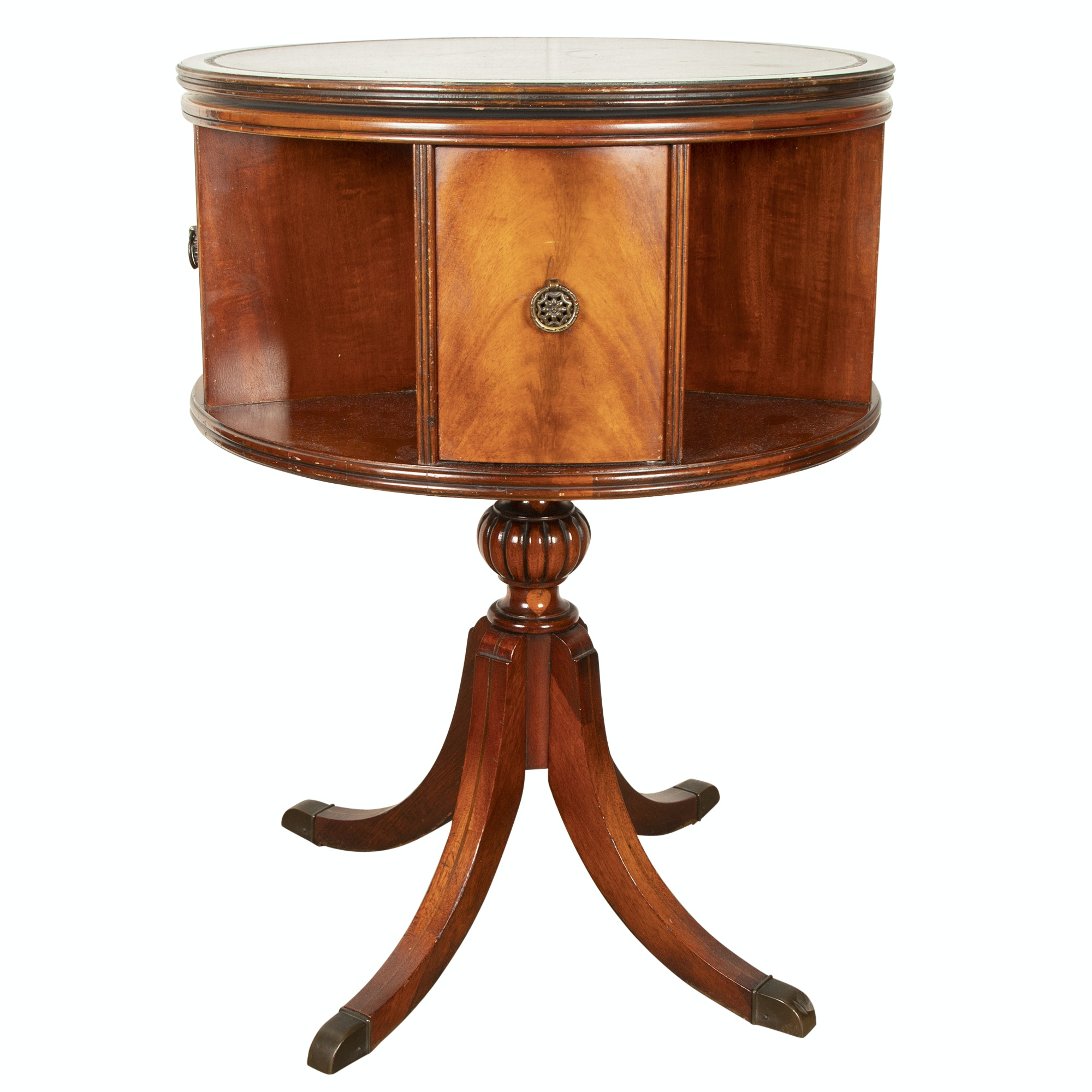 Federal Style Mahogany Rotating Drum Table, Mid-20th Century