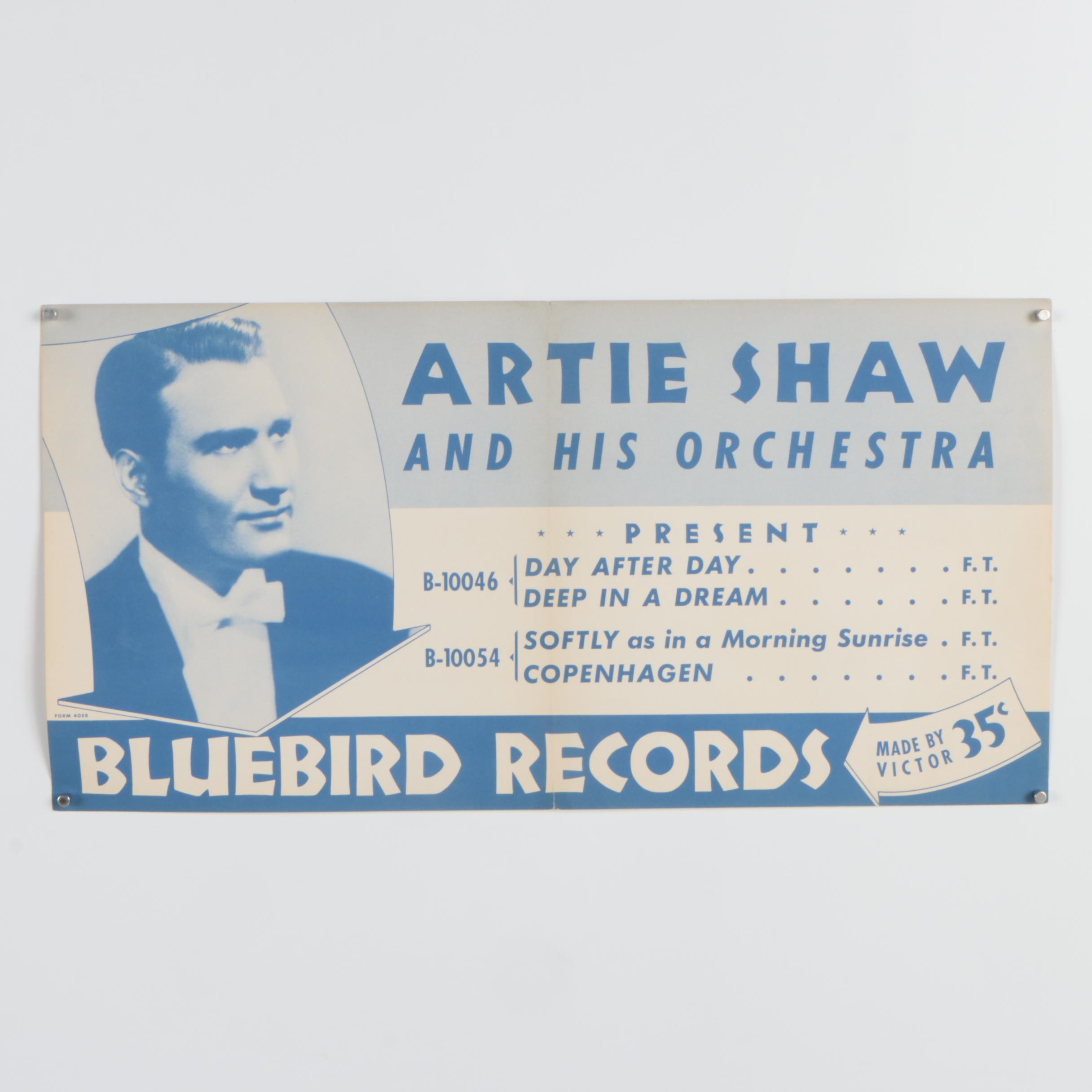 "Bluebird Records Poster ""Artie Shaw and His Orchestra"""