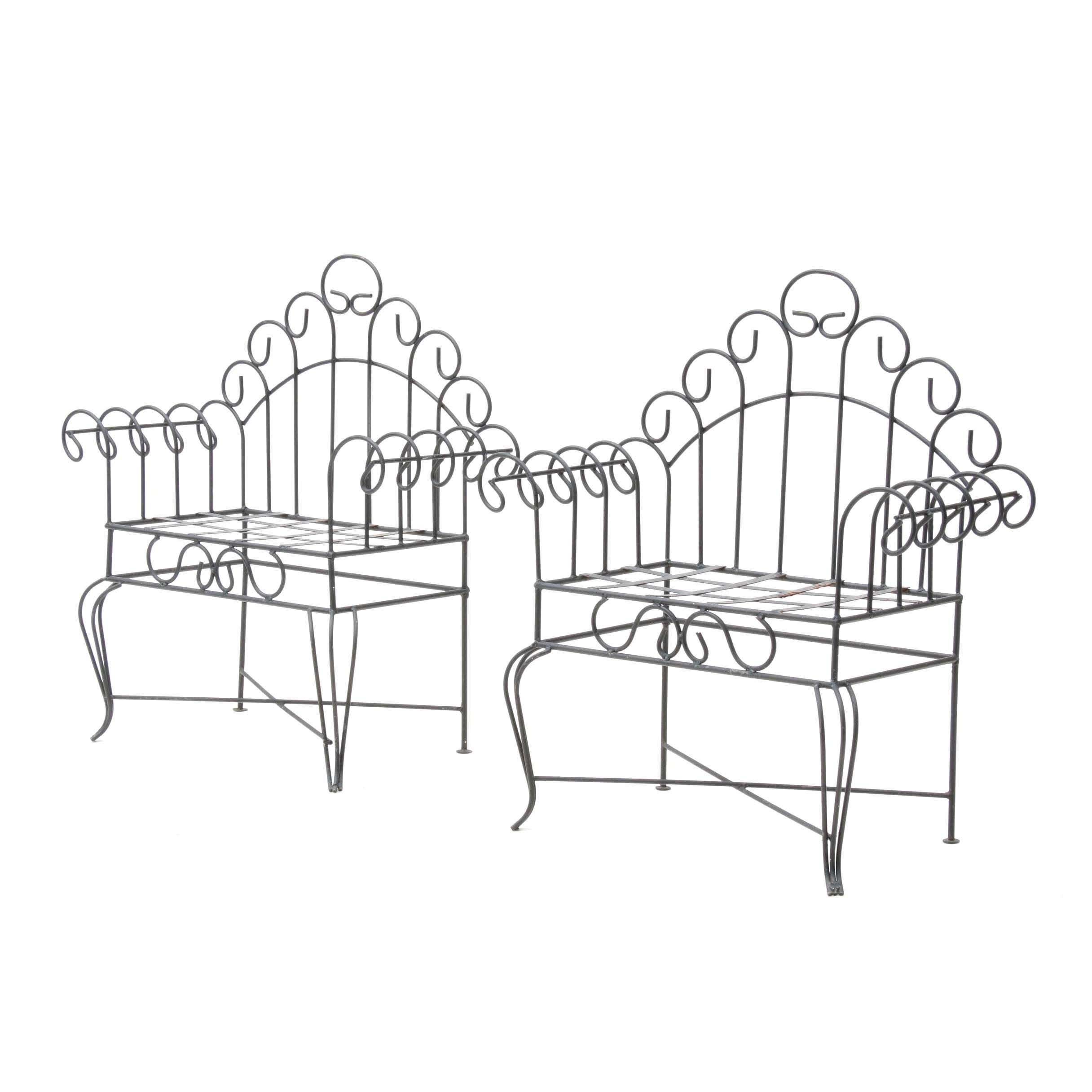 Pair of Wrought Iron Seats