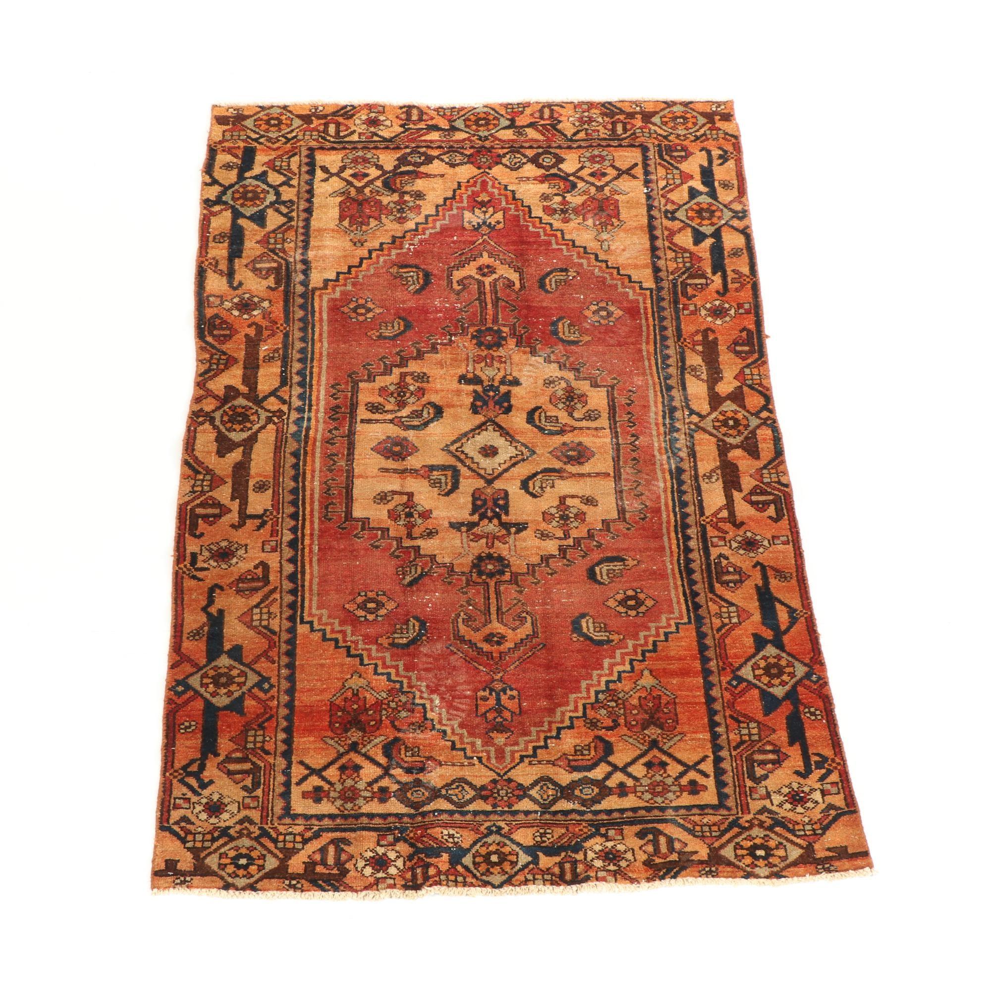 Hand-Knotted Persian Kurdish Bijar Wool Rug