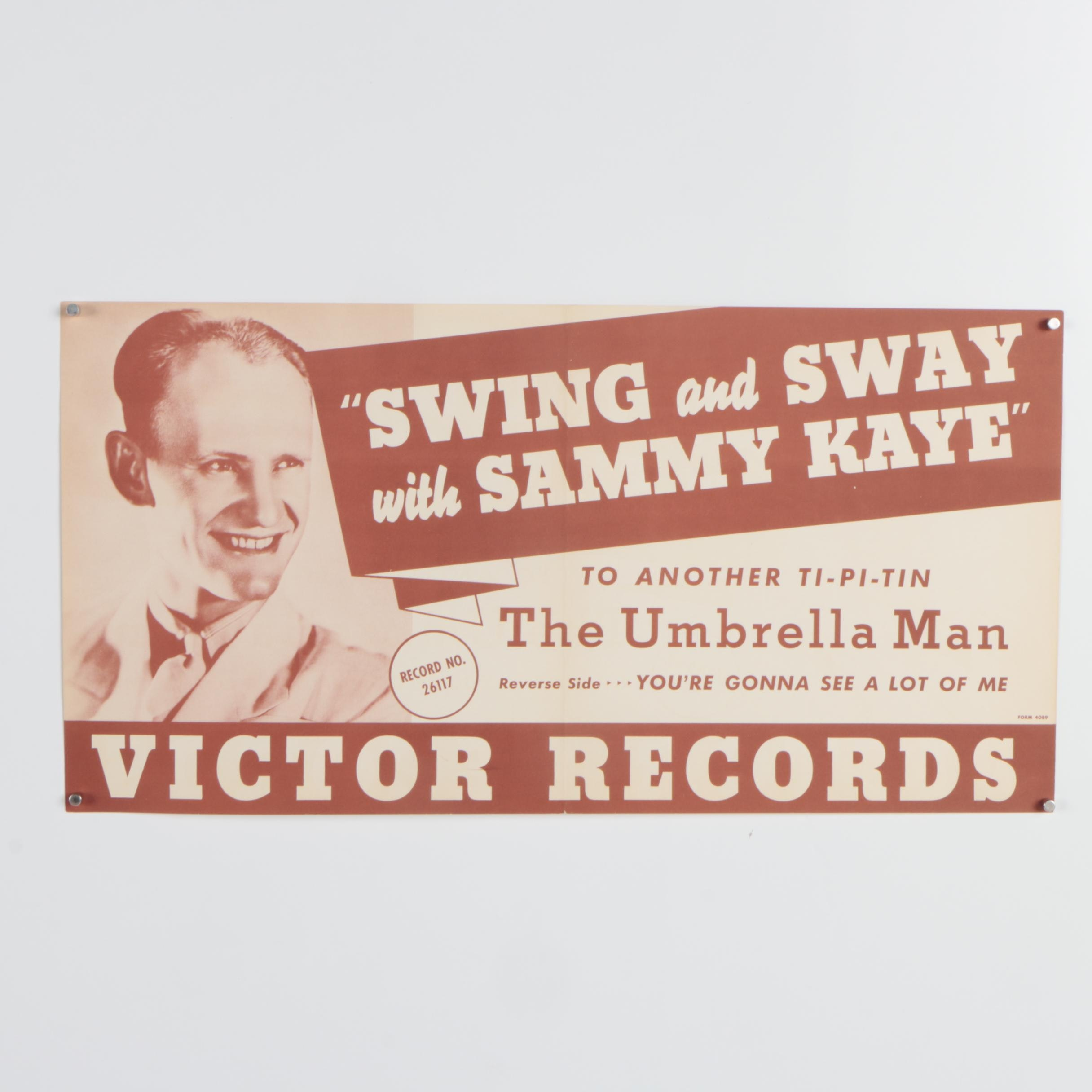 "Victor Records Lithograph Poster ""Swing and Sway with Sammy Kaye"""