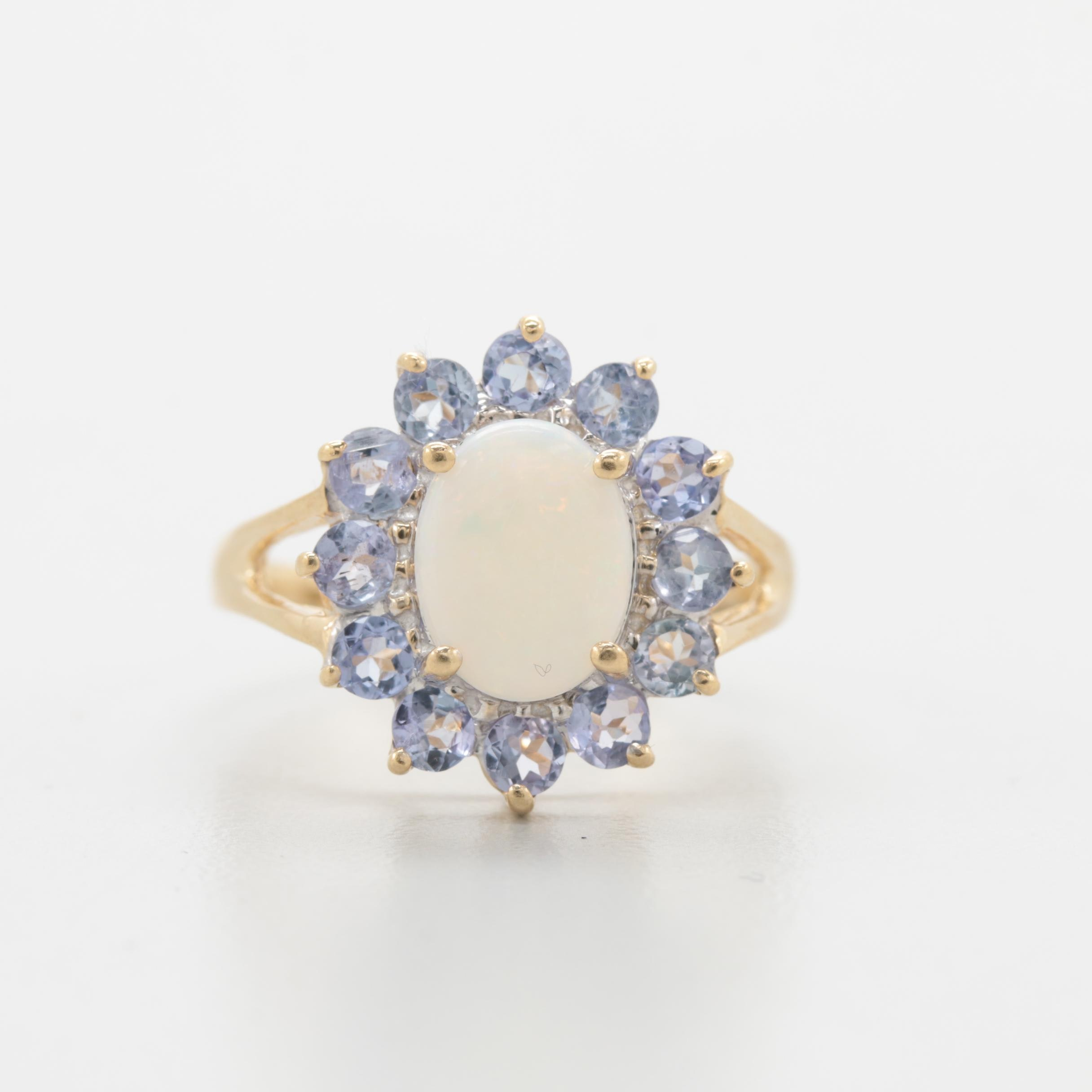 10K Yellow Gold Opal and Tanzanite Ring