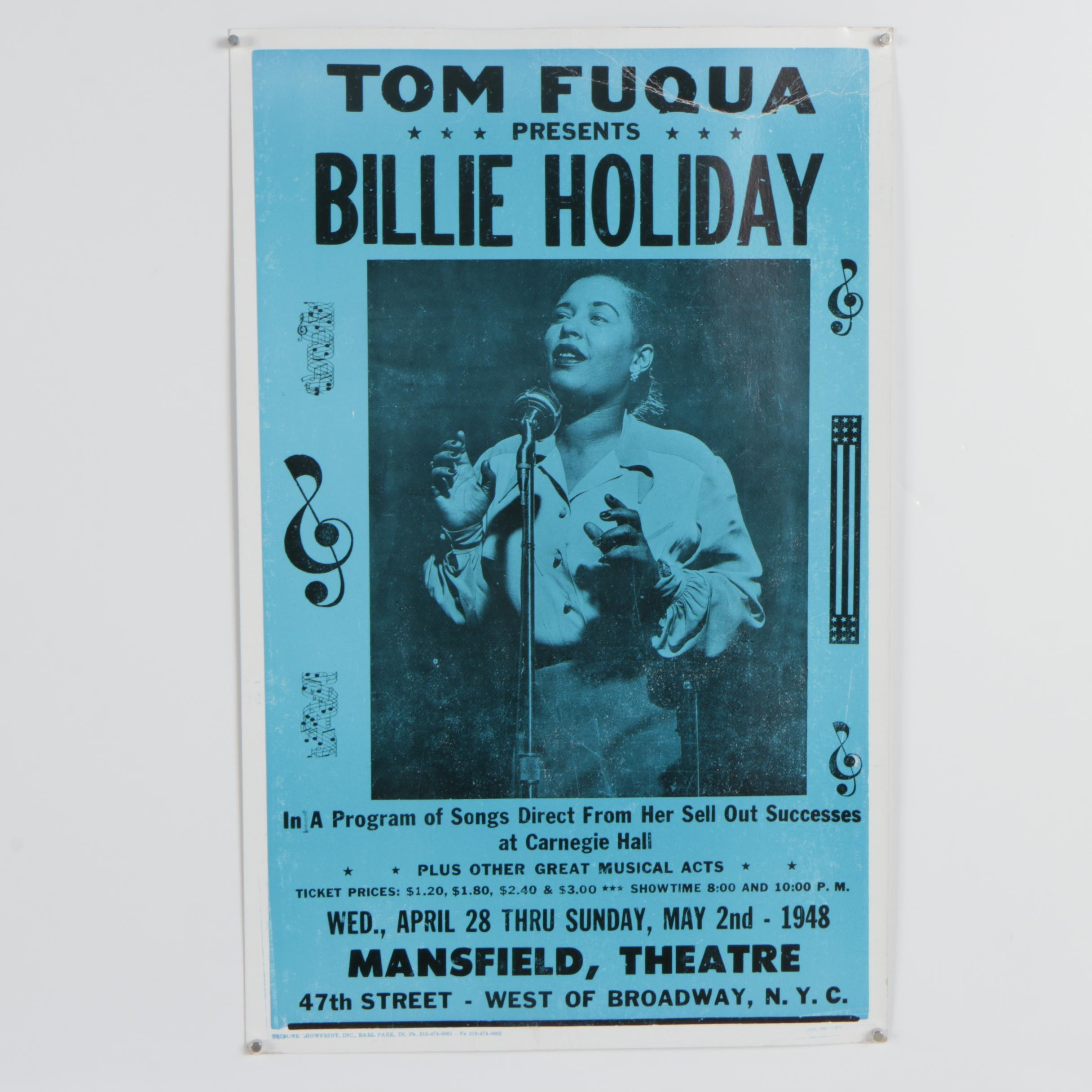 "1948 Tom Fuqua Concert Poster ""Billie Holiday"""