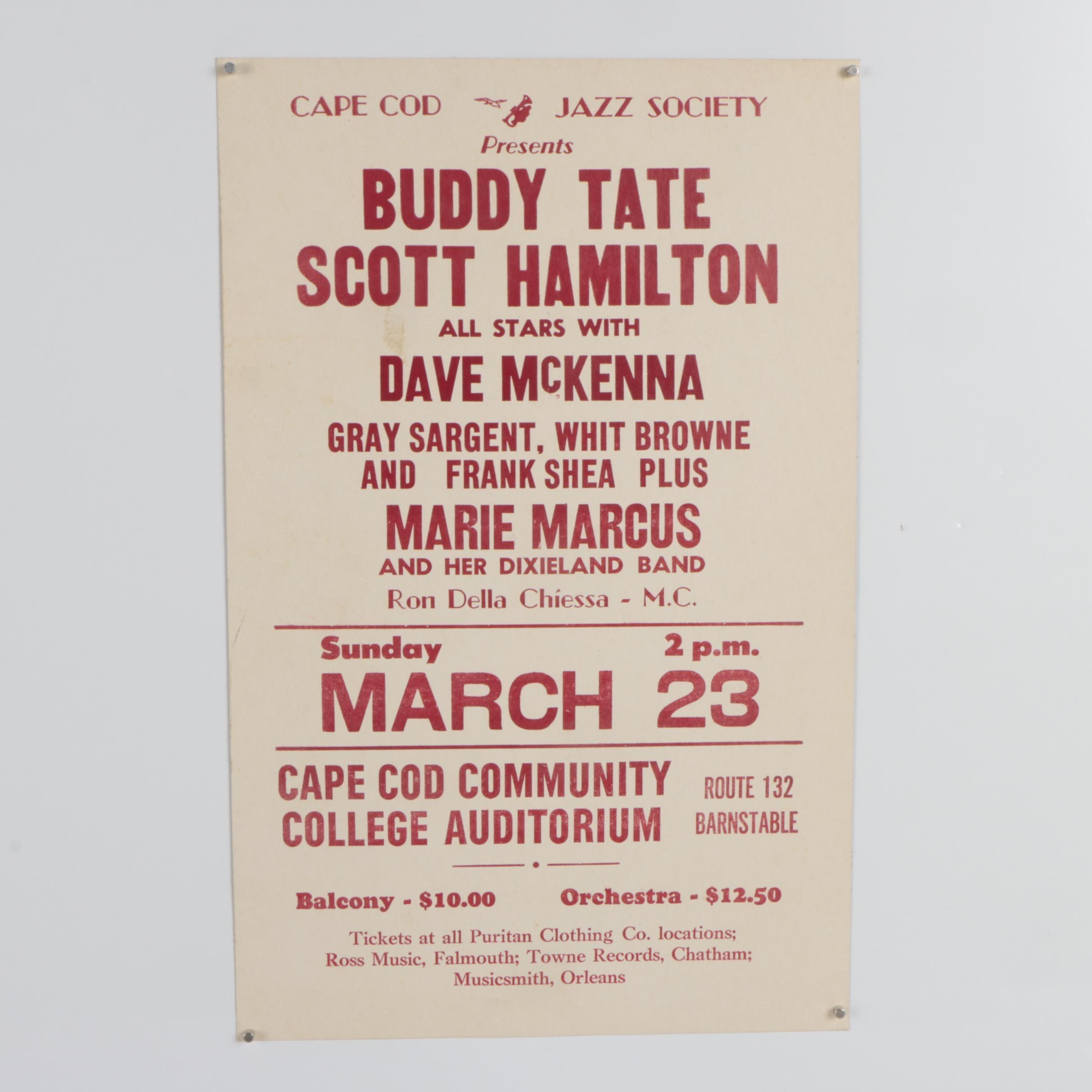 """Cape Cod Jazz Society Poster """"Buddy Tate Scott Hamilton"""""""