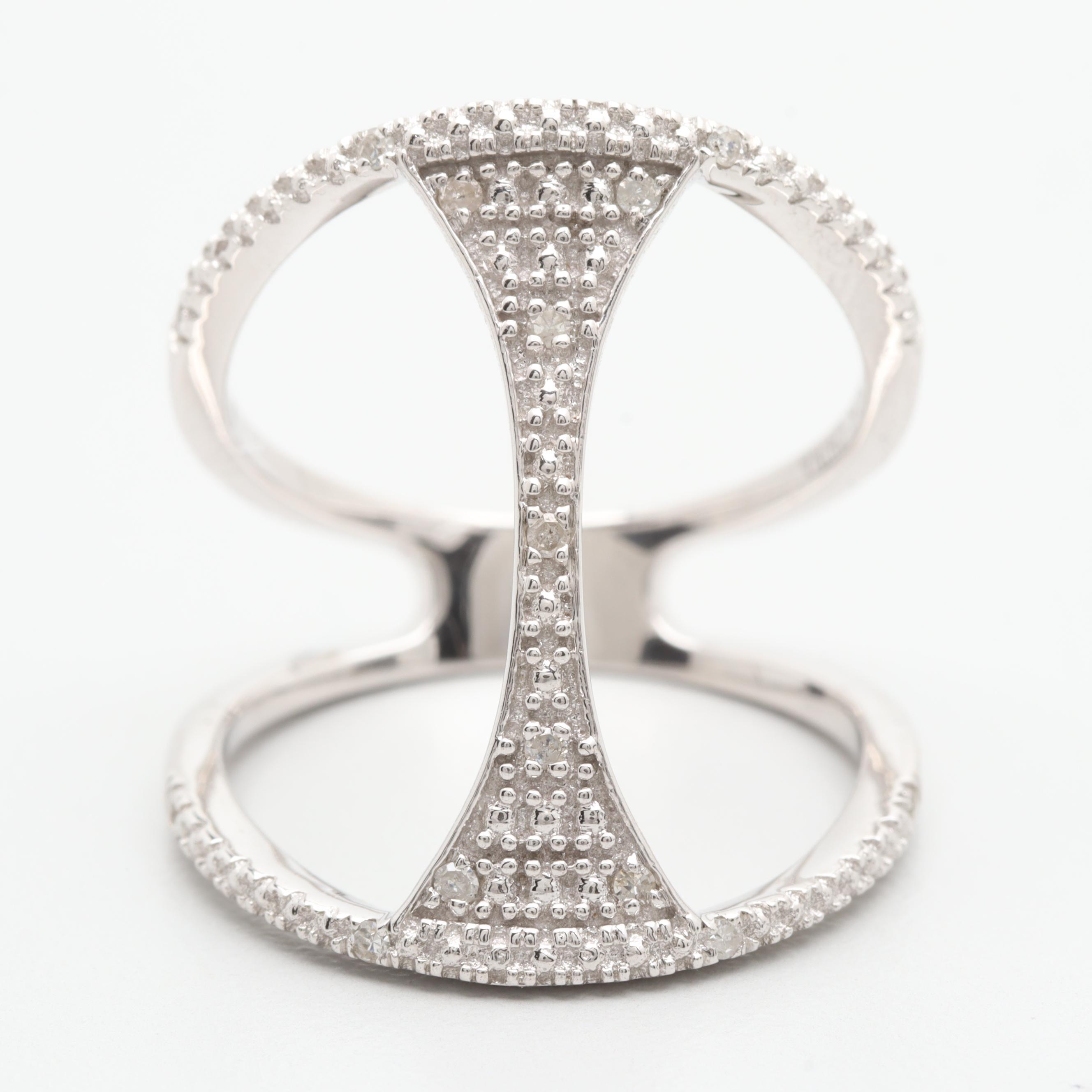 10K White Gold Diamond Openwork Ring
