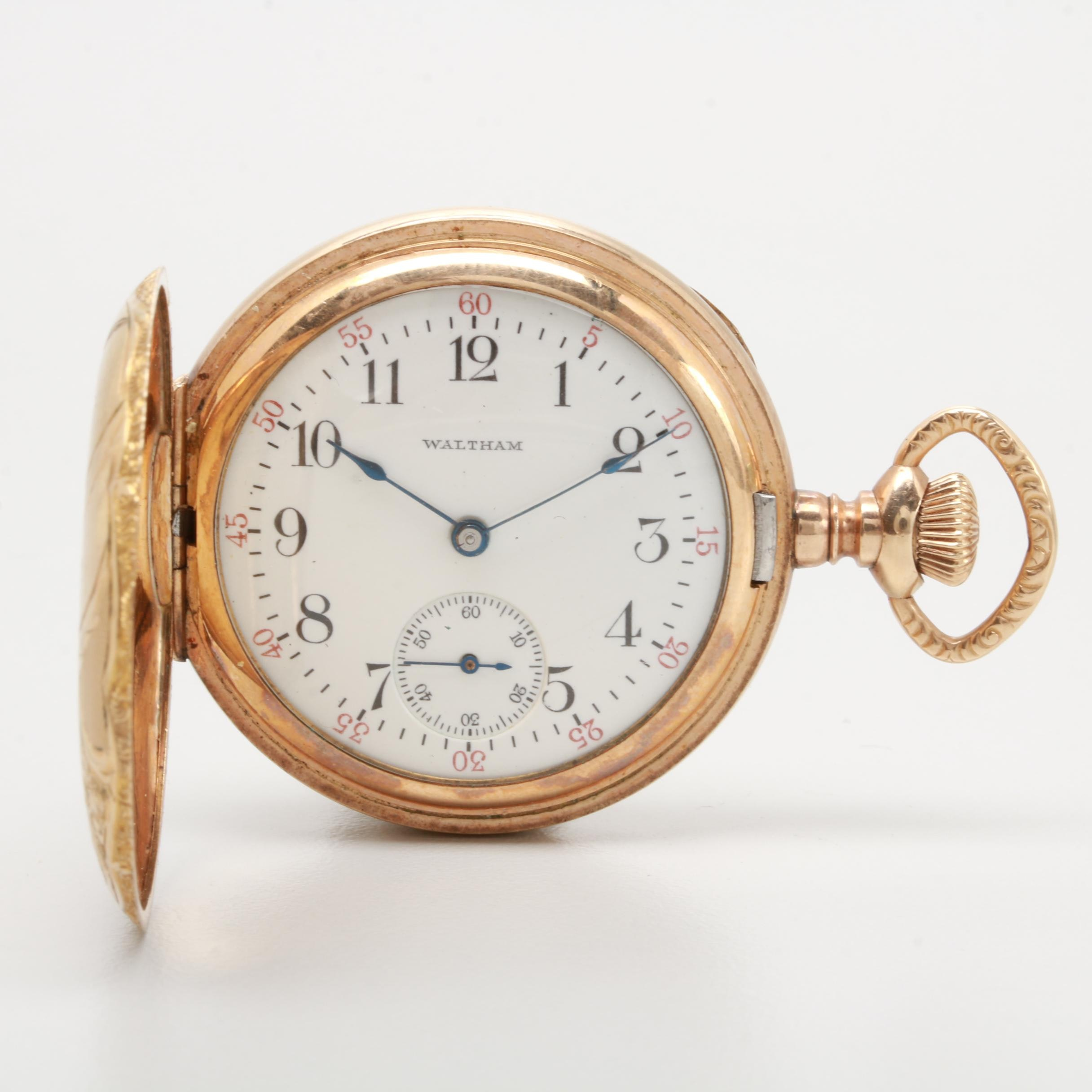 Circa 1909 Waltham Gold Filled Hunting Case Pocket Watch