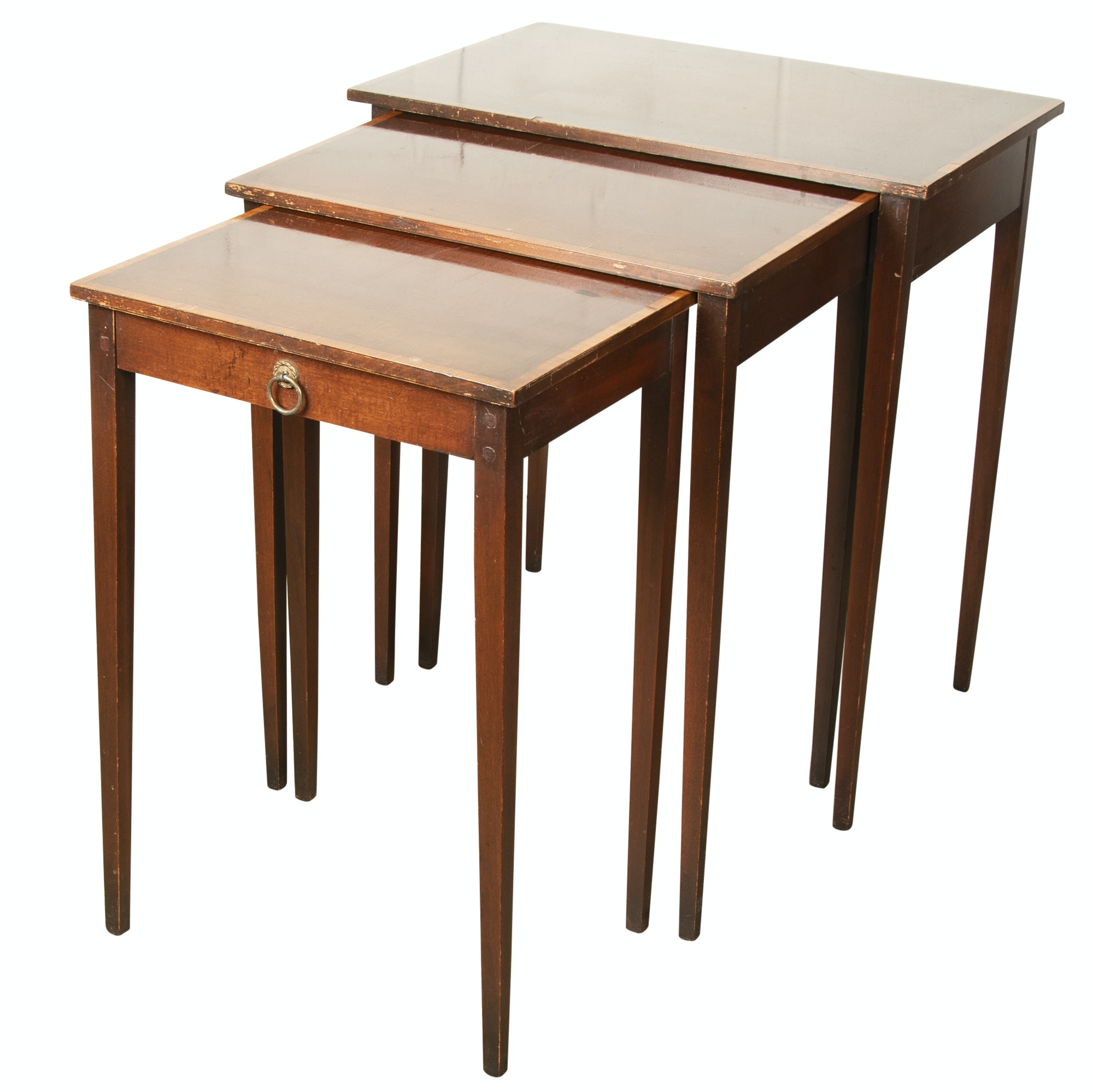 Federal Style Banded Mahogany Nesting Tables, Mid-20th Century