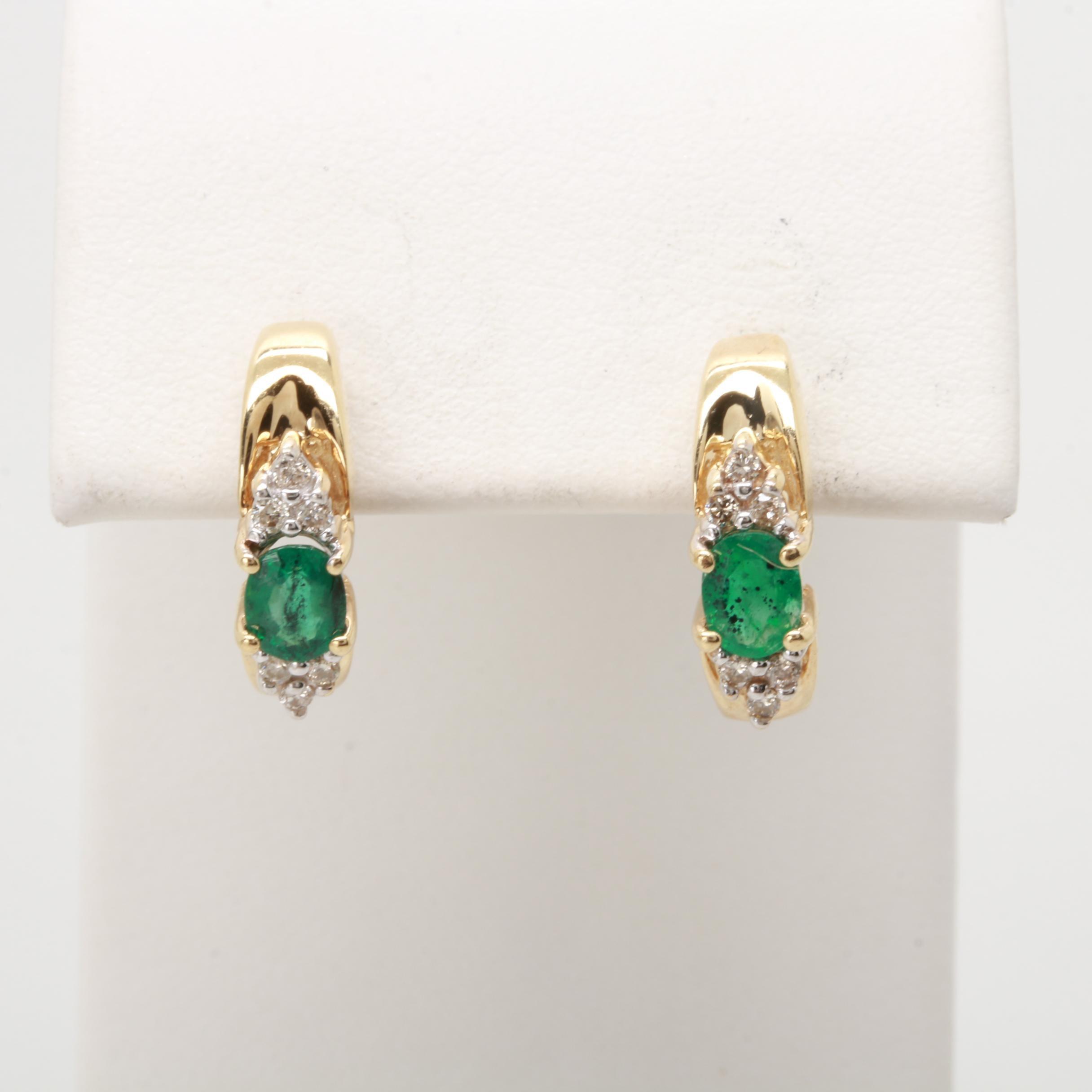 10K Yellow Gold Emerald and Diamond Half Hoop Earrings