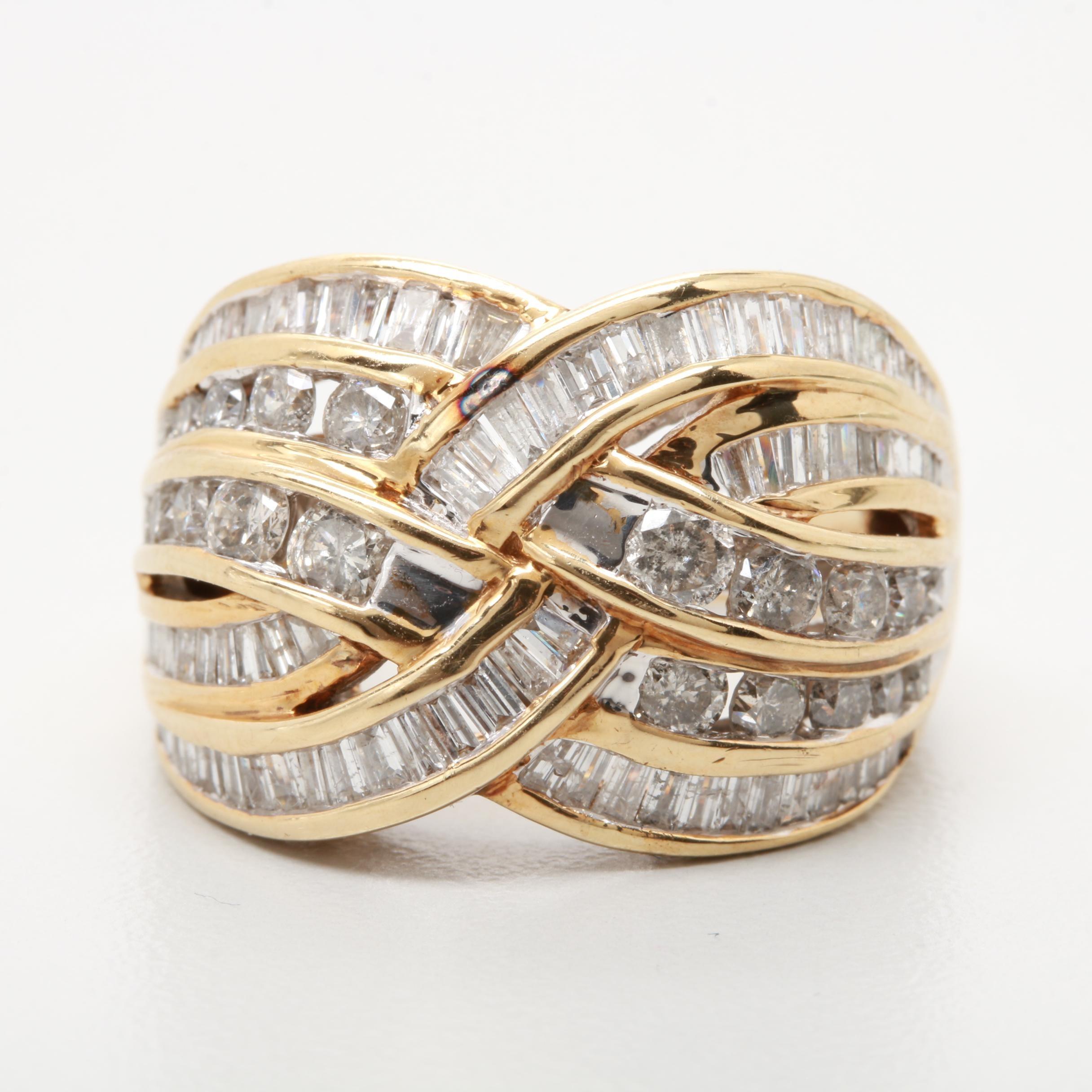 10K Yellow Gold 2.00 CTW Diamond Woven Ring