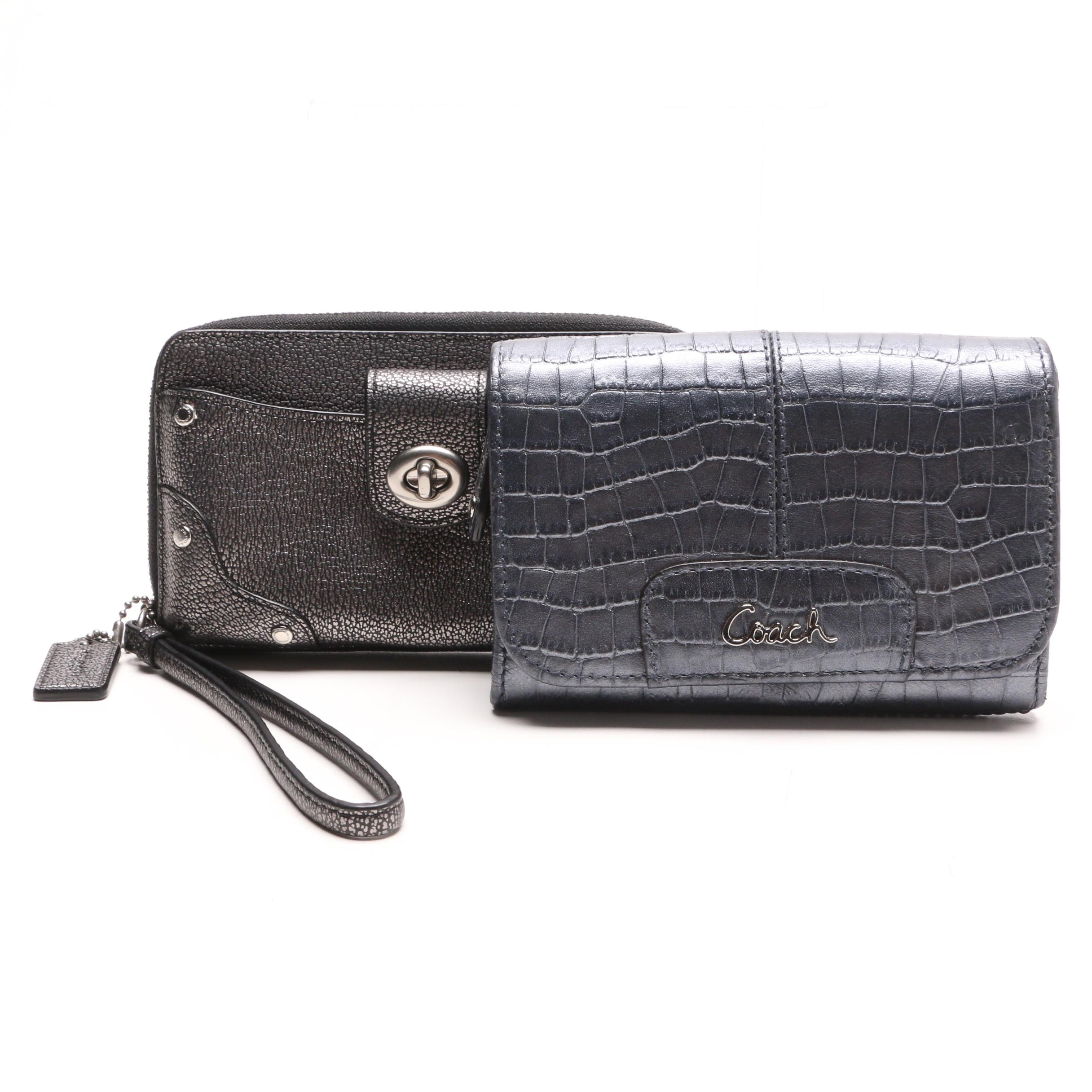 Coach Embossed Leather Wallet and Coach Leather Wristlet Wallet