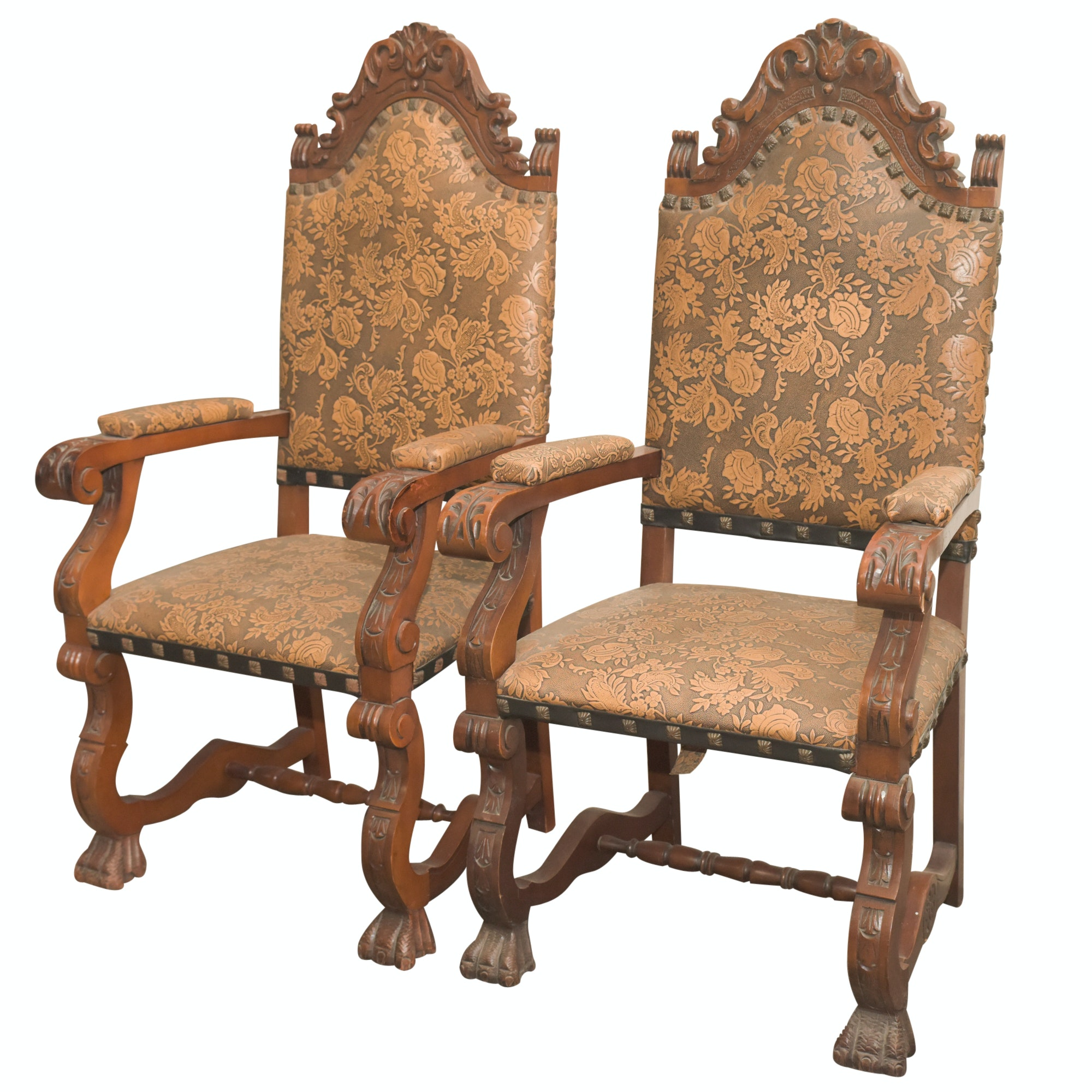 Louis XIV Style Carved Armchairs