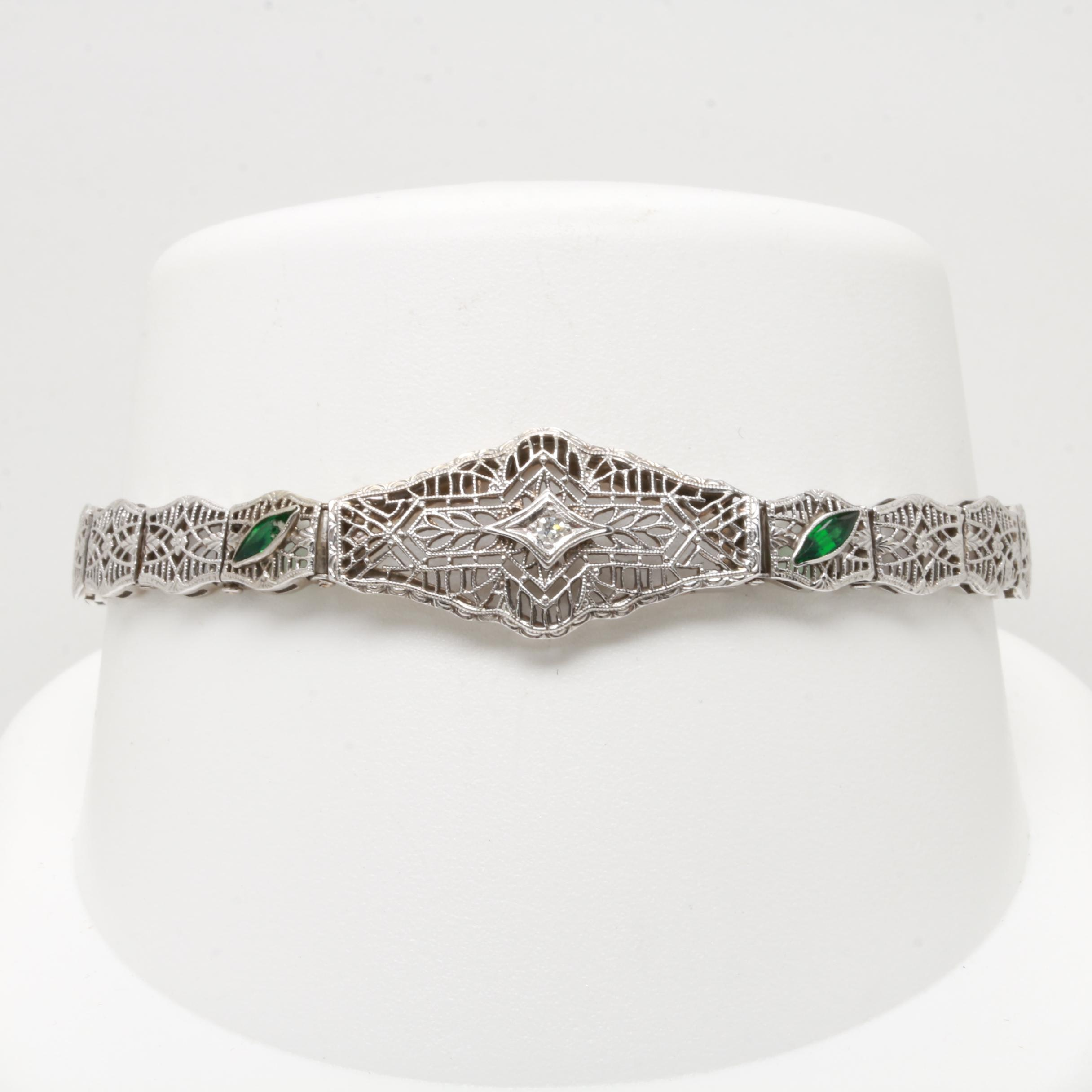 Circa 1930s 14K White Gold Diamond and Glass Filigree Bracelet