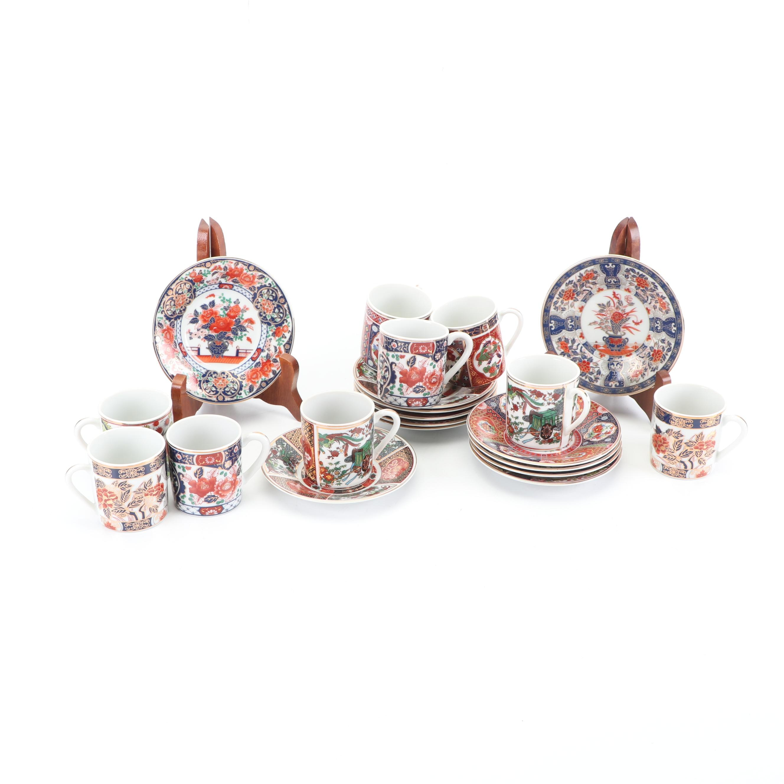 Chinese Imari Style Espresso Cups and Saucers
