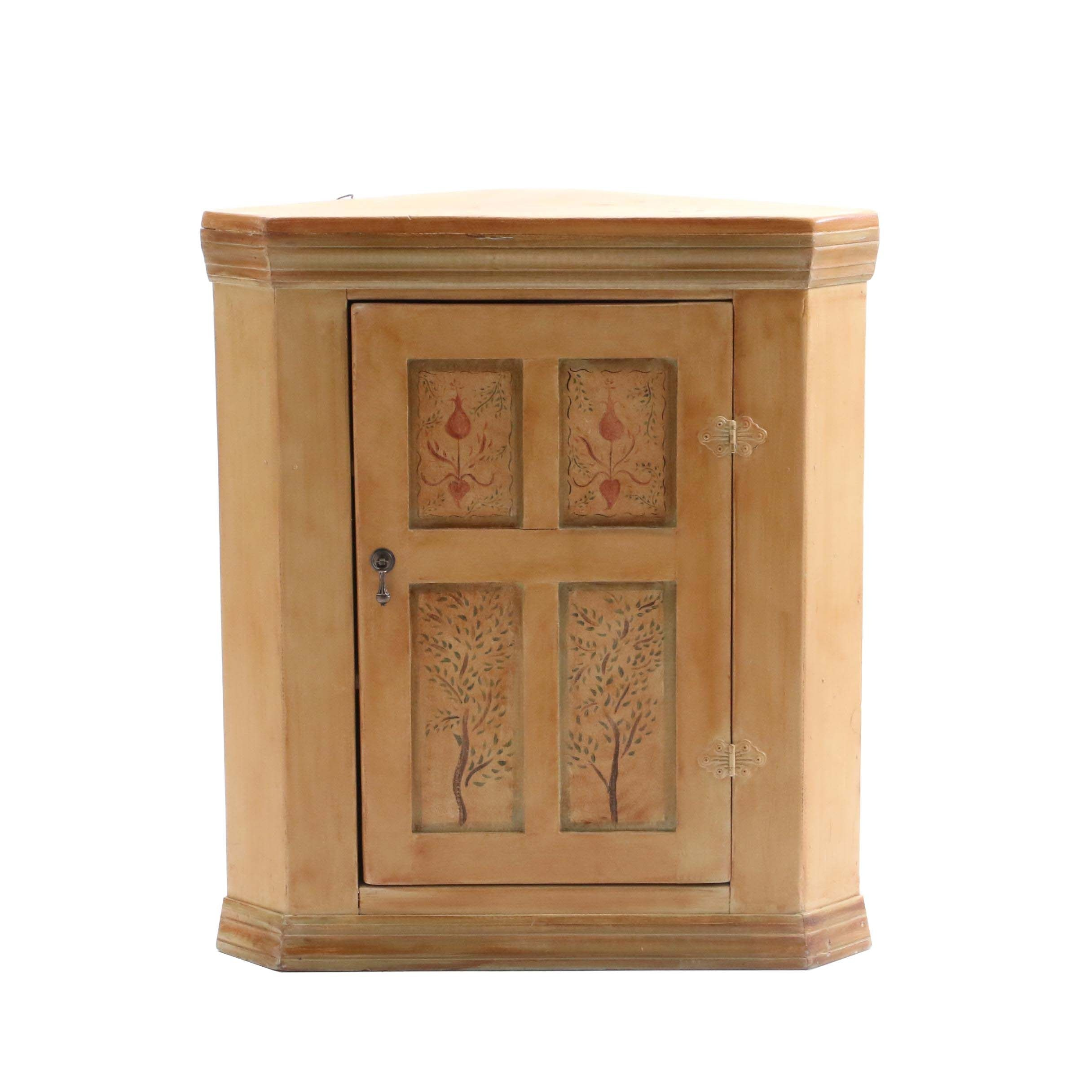 Pine Painted Corner Wall Cabinet, Late 20th Century