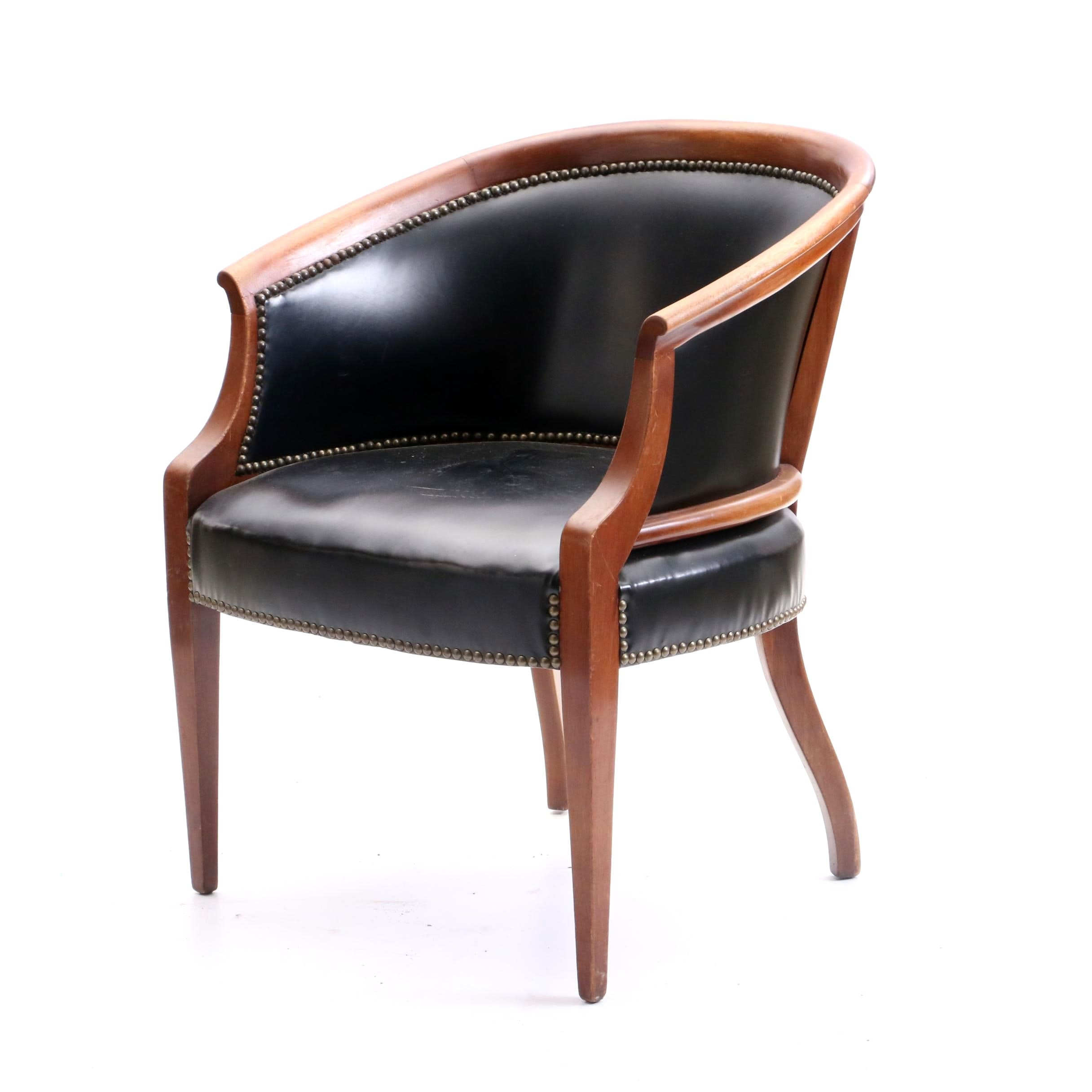 Contemporary Leather Upholstered Club Chair