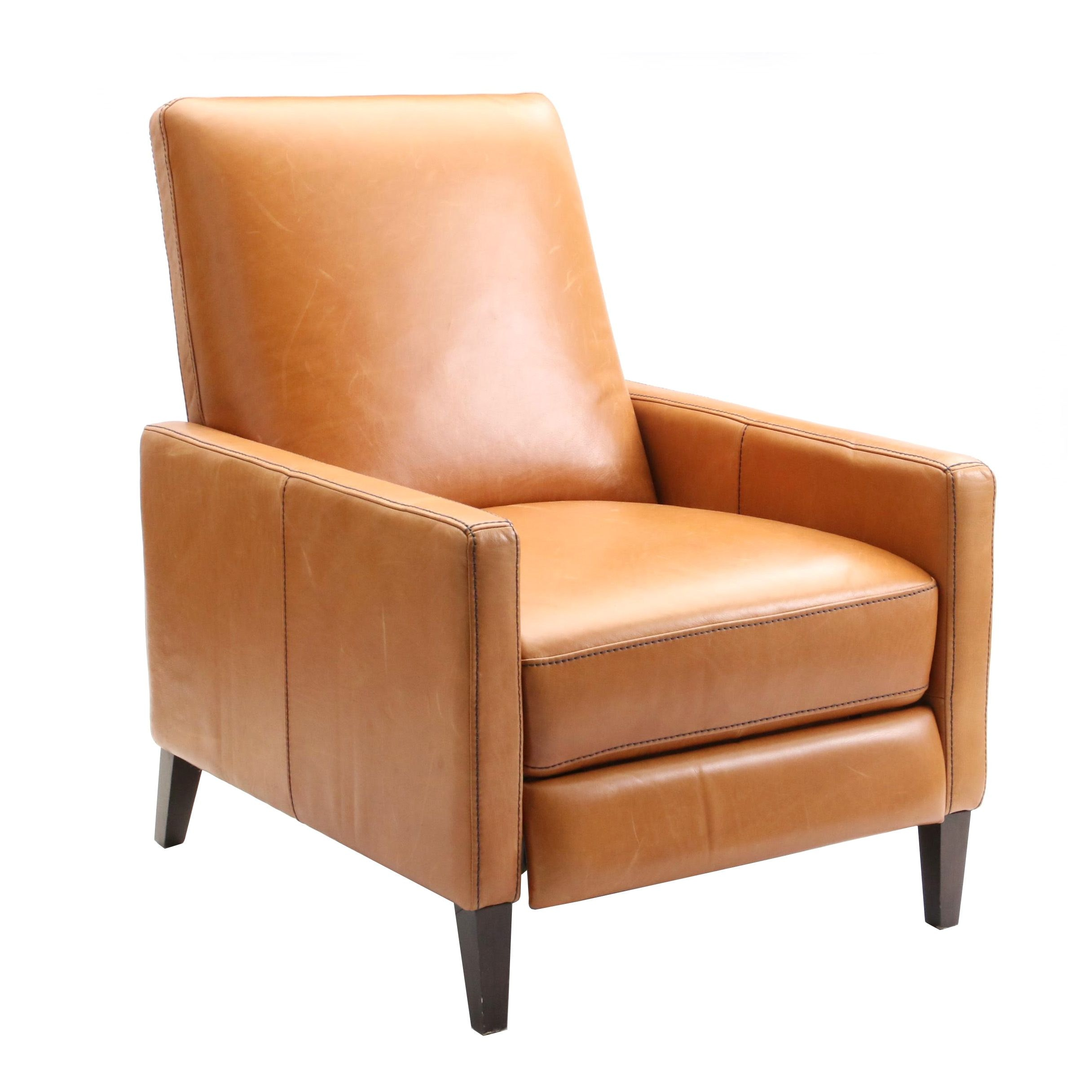 "Contemporary West Elm ""Sedgwick"" Leather Recliner"