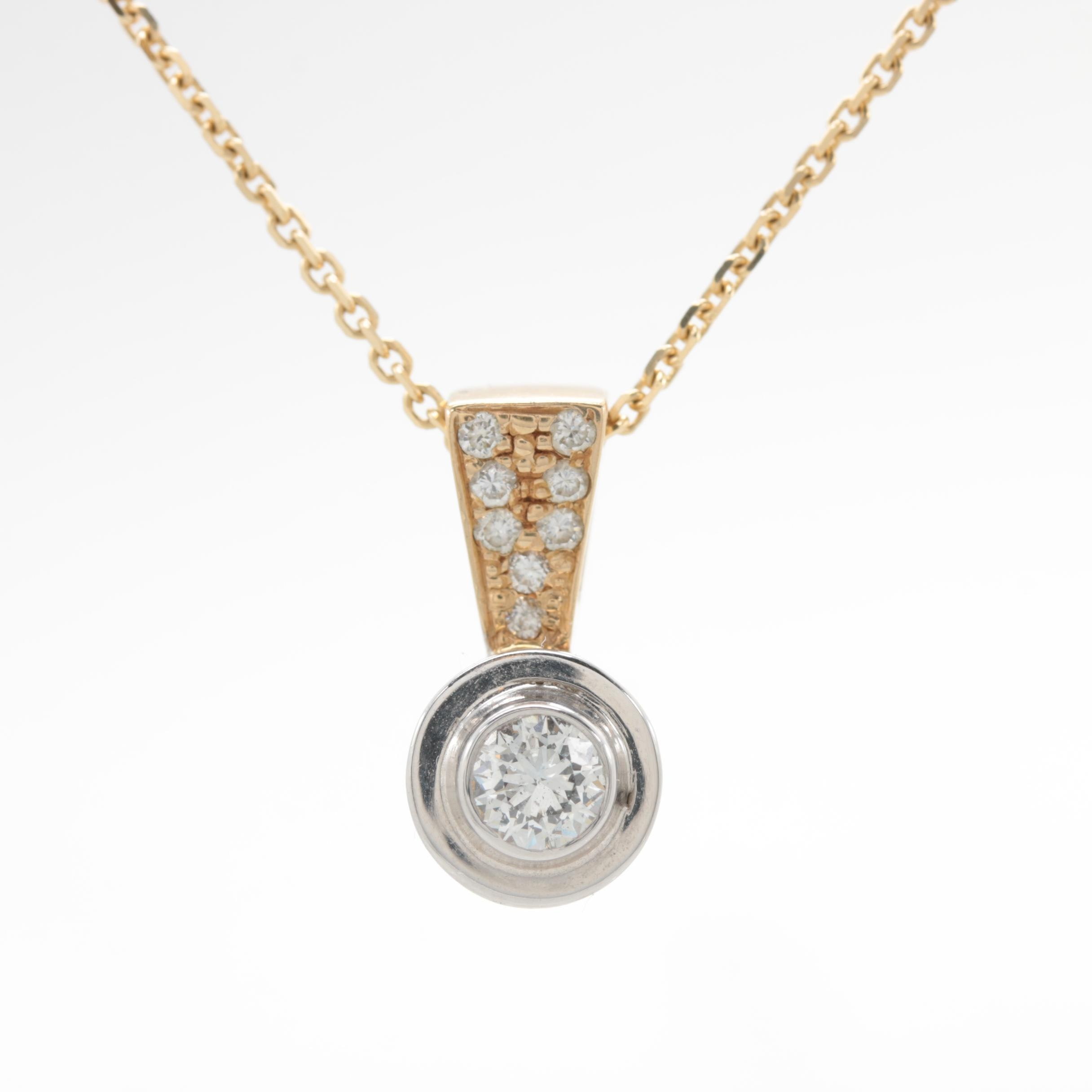 14K Yellow Gold Diamond Necklace with White Gold Accent
