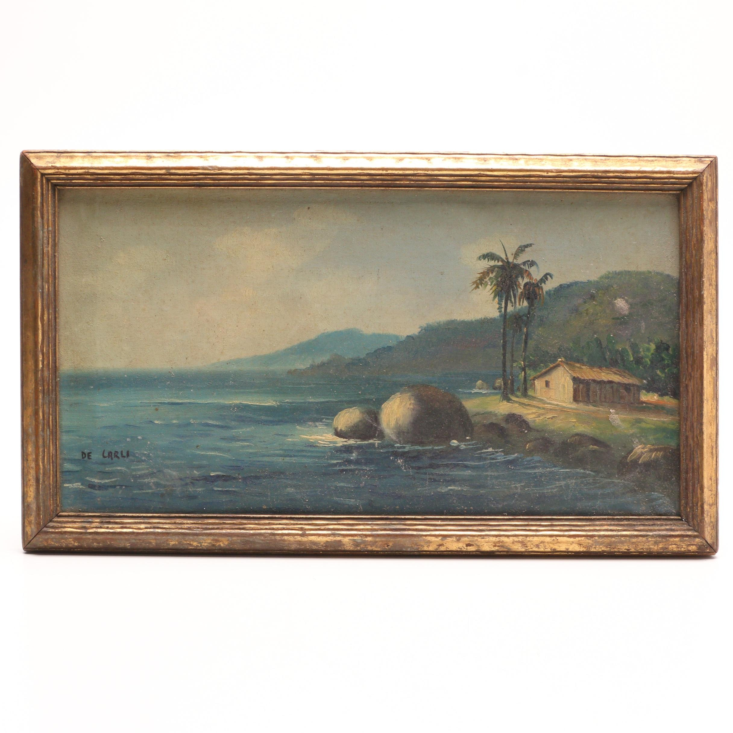 De Carli Oil Painting of Tropical Coastal Scene