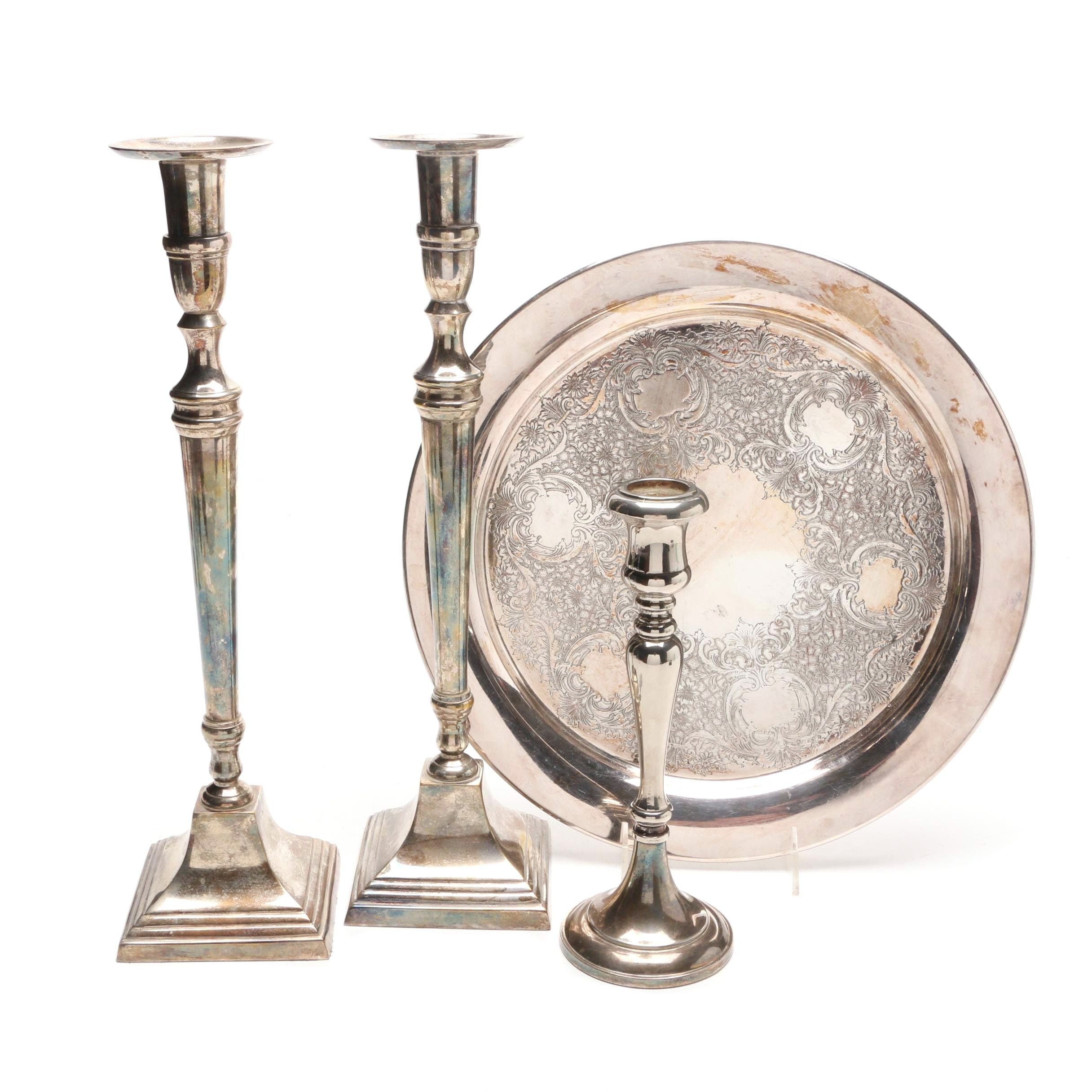 Bombay Silver Plate Candle Holders and Etched Floral Serving Tray