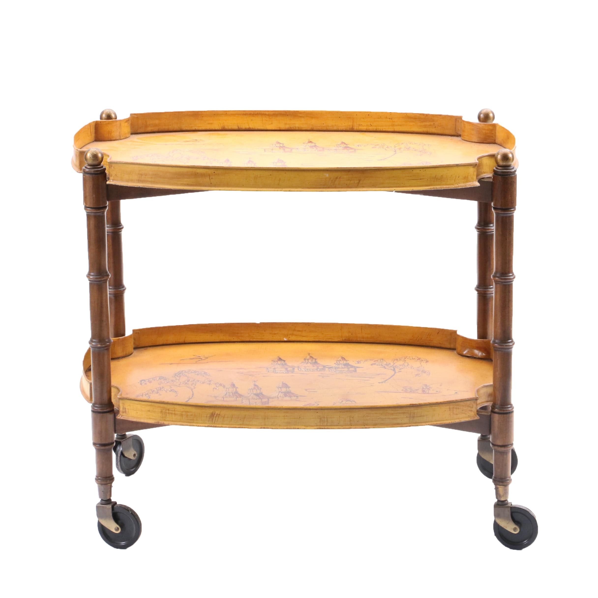 Chinoiserie Painted Metal Bar Cart, Late 20th Century