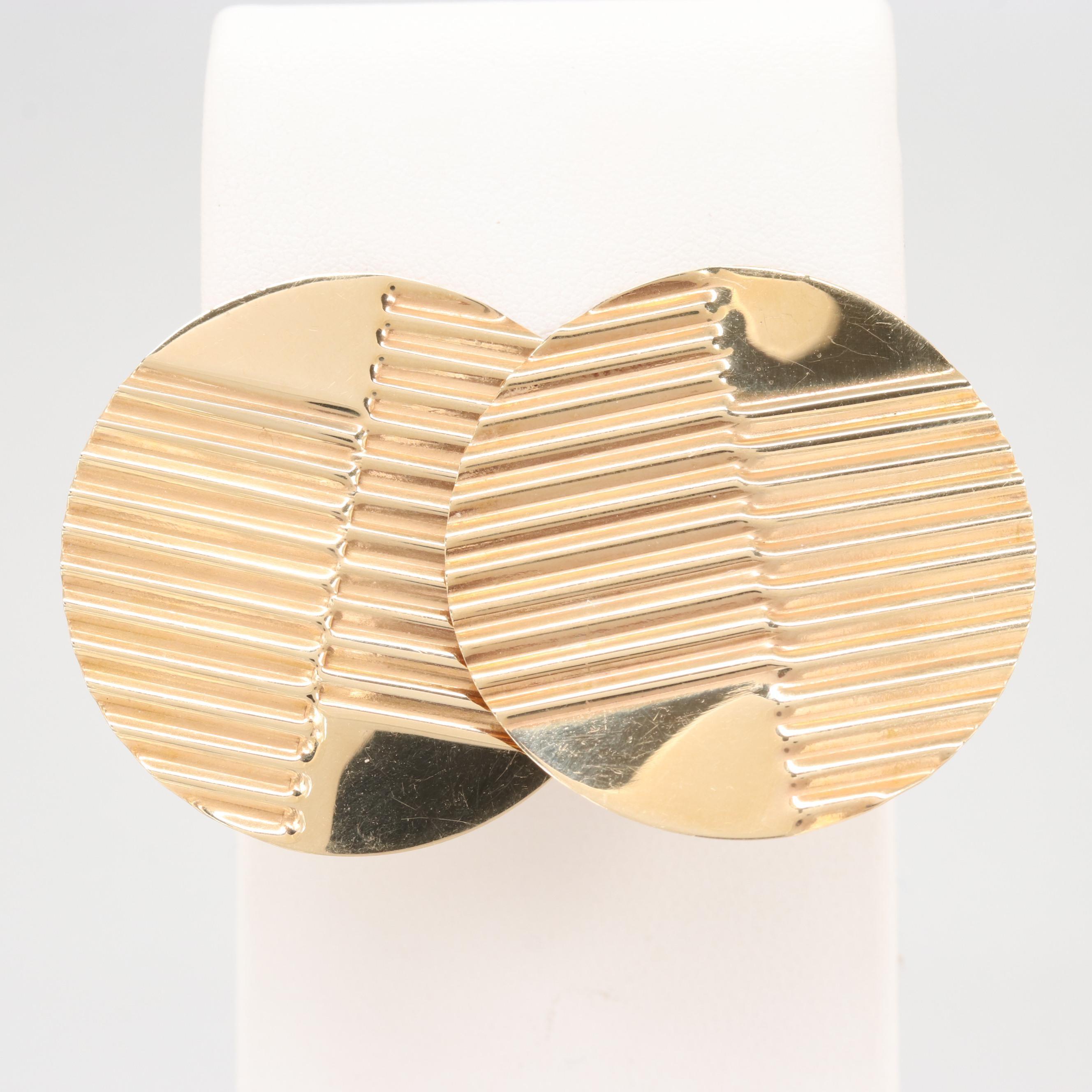 14K Yellow Gold Texture Disc Earrings