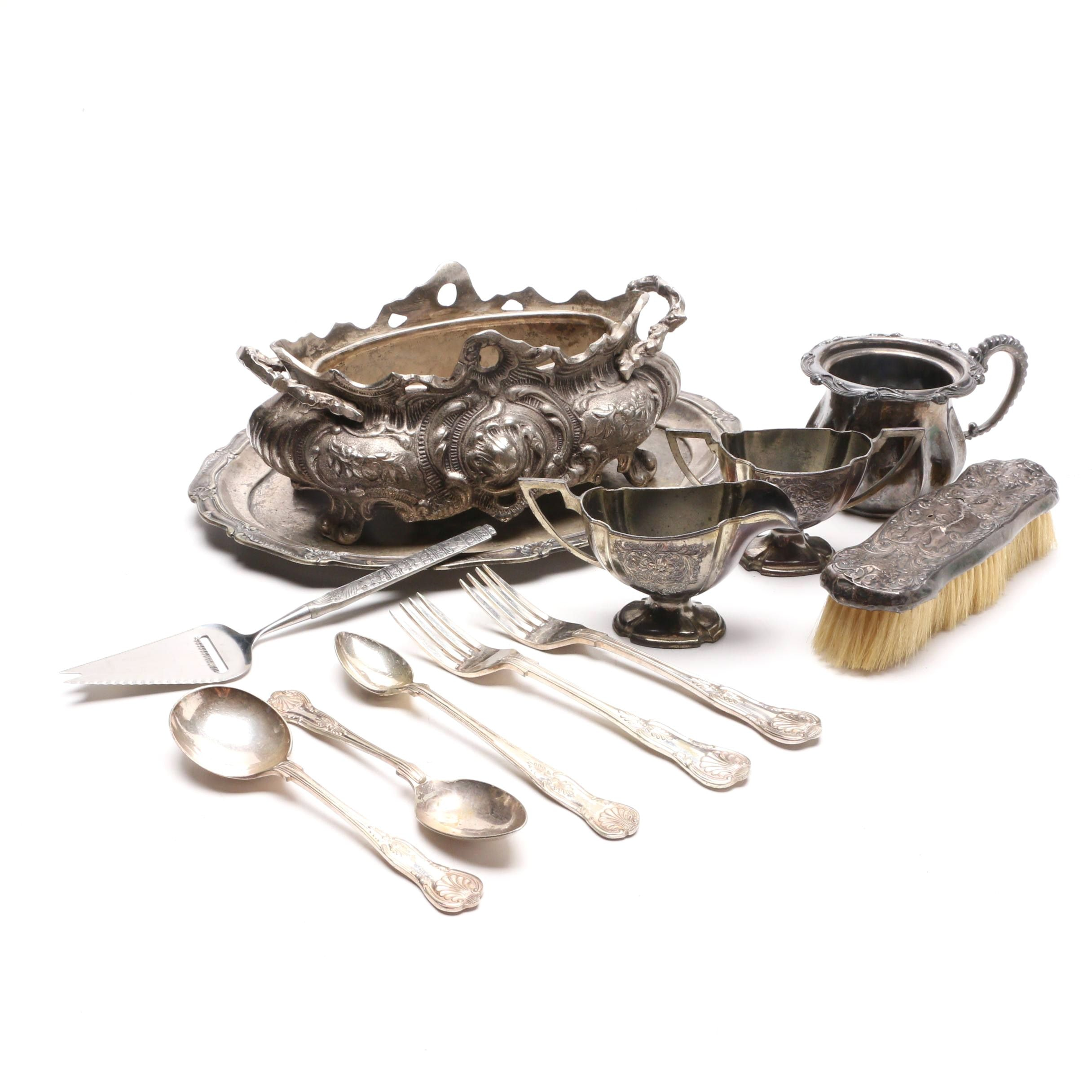 Silver Plated Tableware and Decor with Sterling Silver Clothes Brush