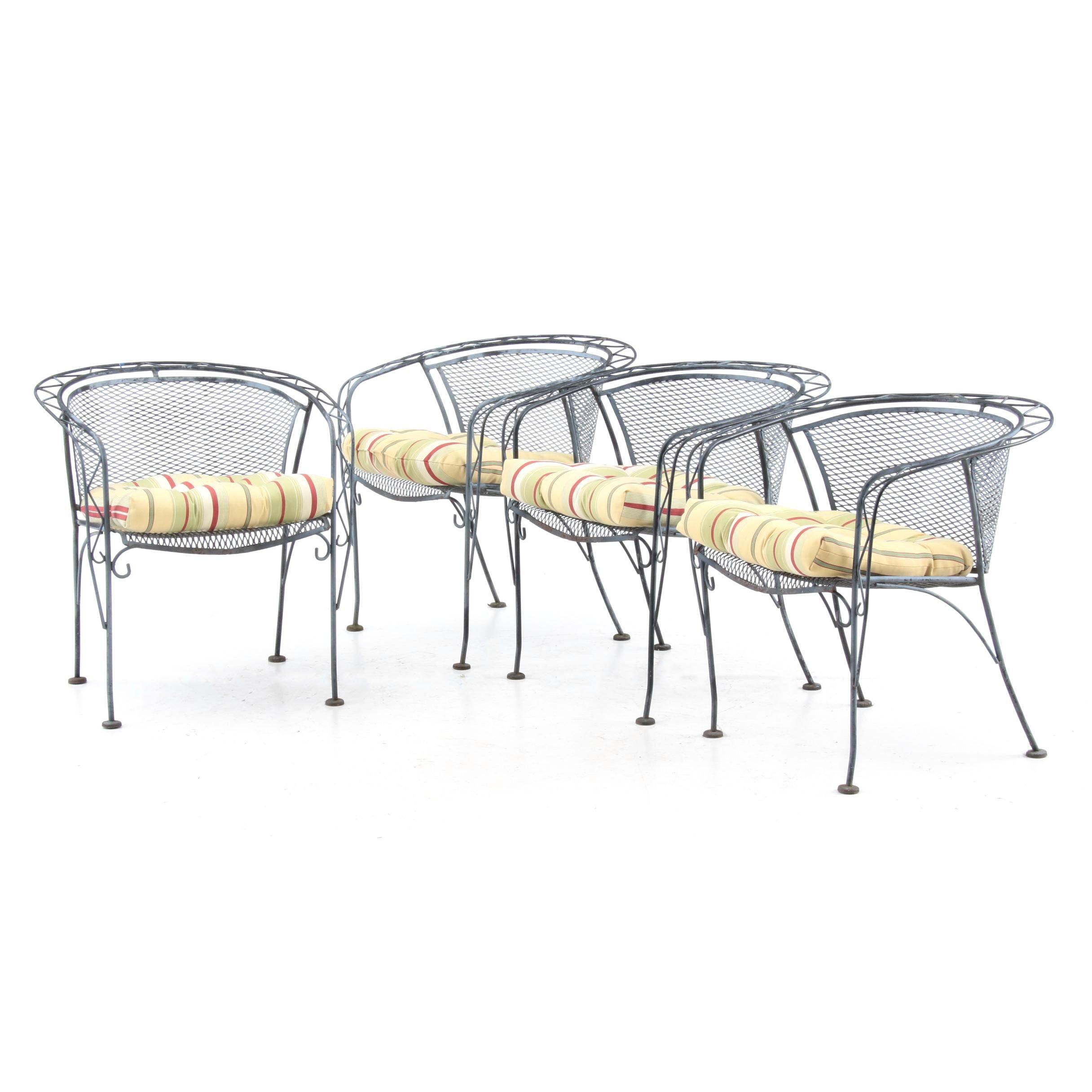 Contemporary Metal Barrel-Back Patio Armchairs