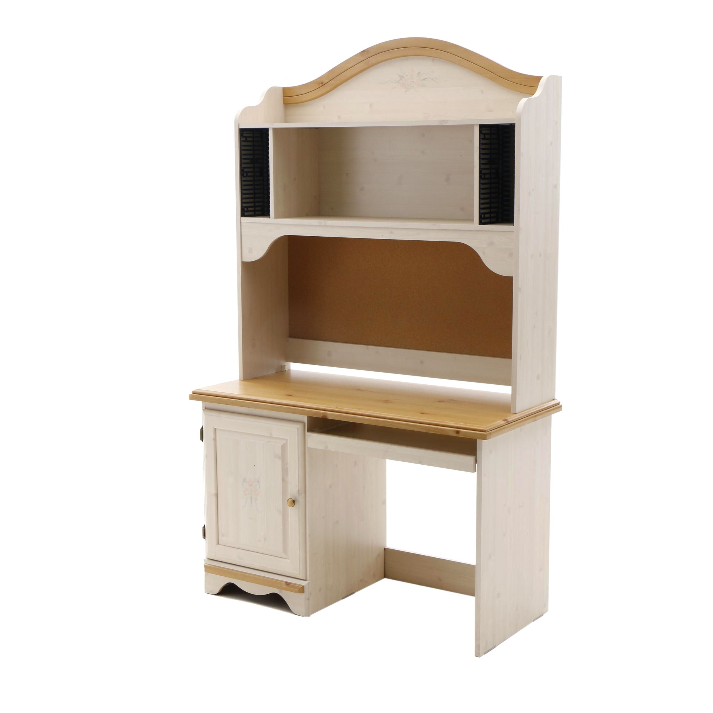 Contemporary Wood and Laminate Desk with Hutch by Kathy Ireland Home