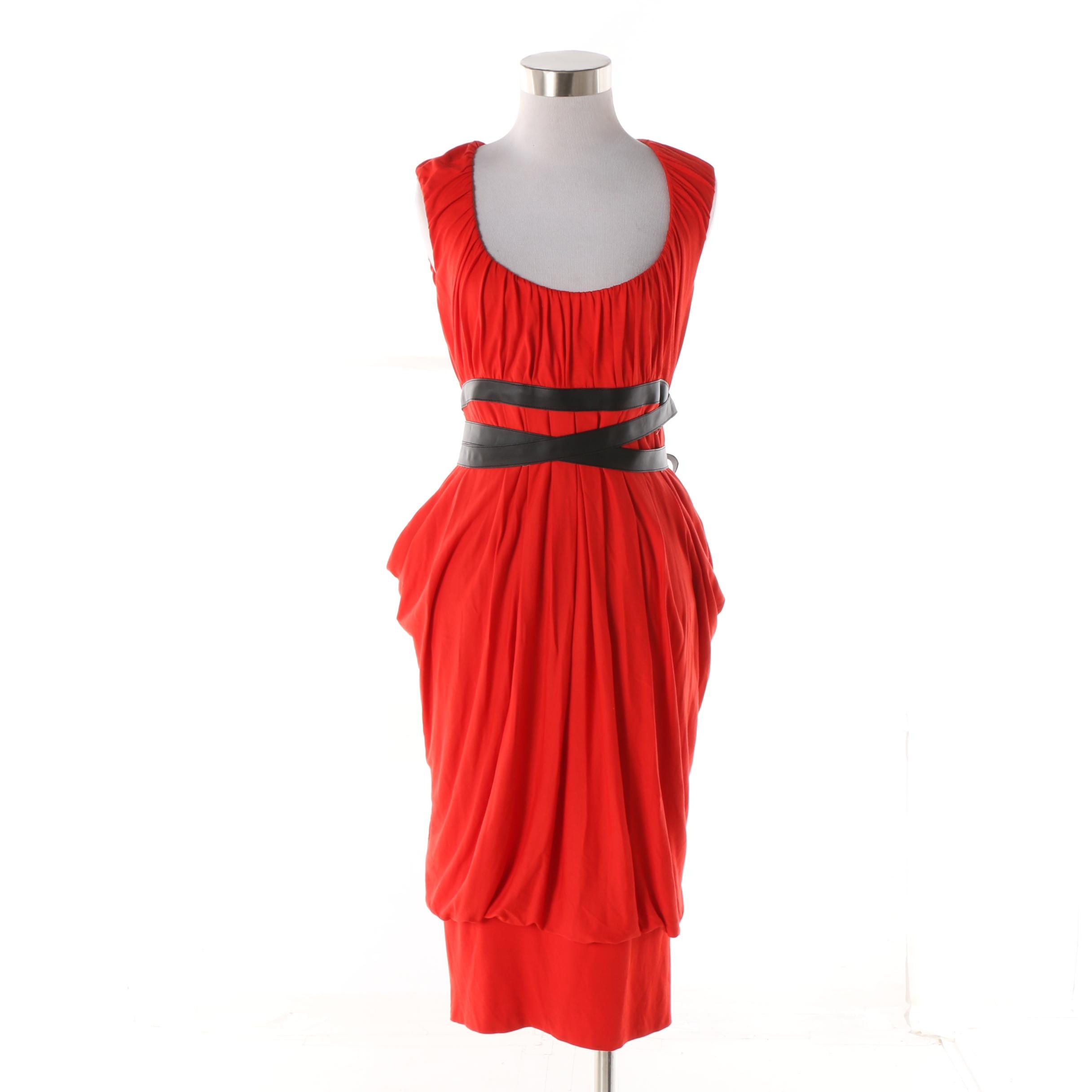 Women's McQ Alexander McQueen Red Draped Jersey Dress with Wrapped Bodice